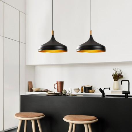 dubbele hanglamp industrieel zwart met gouden accenten sfeerfoto