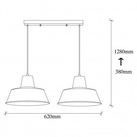 Hanglamp dubbel - Industrieel - zwart met gouden lampenkap afmetingen