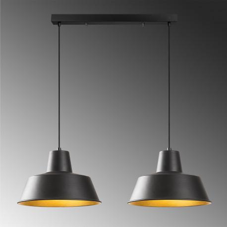 Hanglamp dubbel - Industrieel - zwart met gouden lampenkap