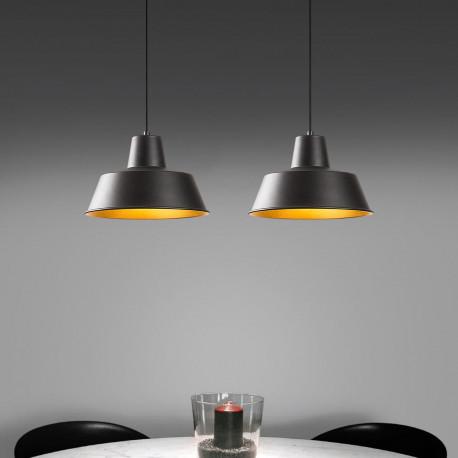Hanglamp dubbel - Industrieel - zwart met gouden lampenkap sfeerfoto