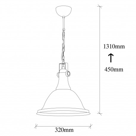 Industriele hanglamp zwart goud E27 fitting - afmetingen