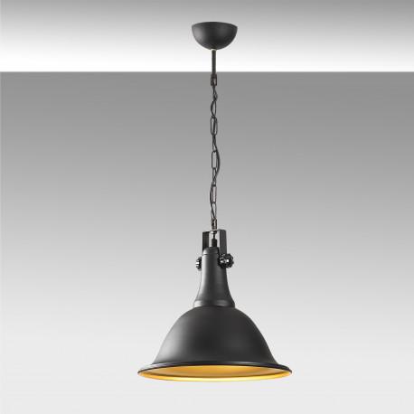 Industriele hanglamp zwart goud E27 fitting - grijze achtergrond