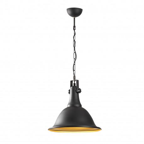 Industriele hanglamp zwart goud E27 fitting - vooraanzicht lamp aan