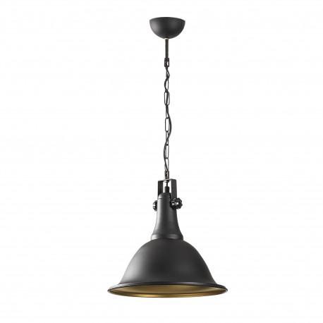 Industriele hanglamp zwart goud E27 fitting - vooraanzicht lamp uit