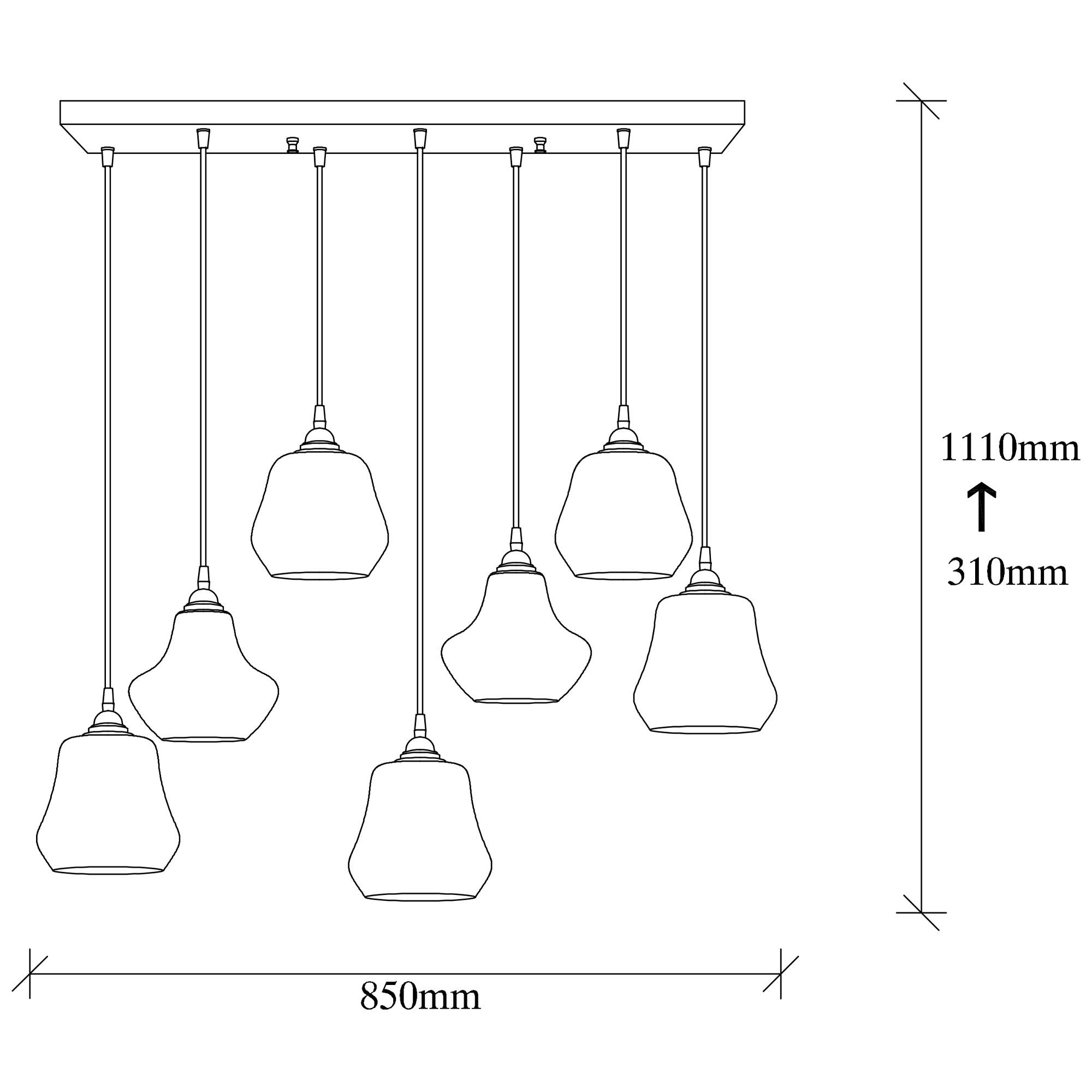 Hanglamp langwerpig modern, gouden glas E27 fitting 7 x - afmetingen