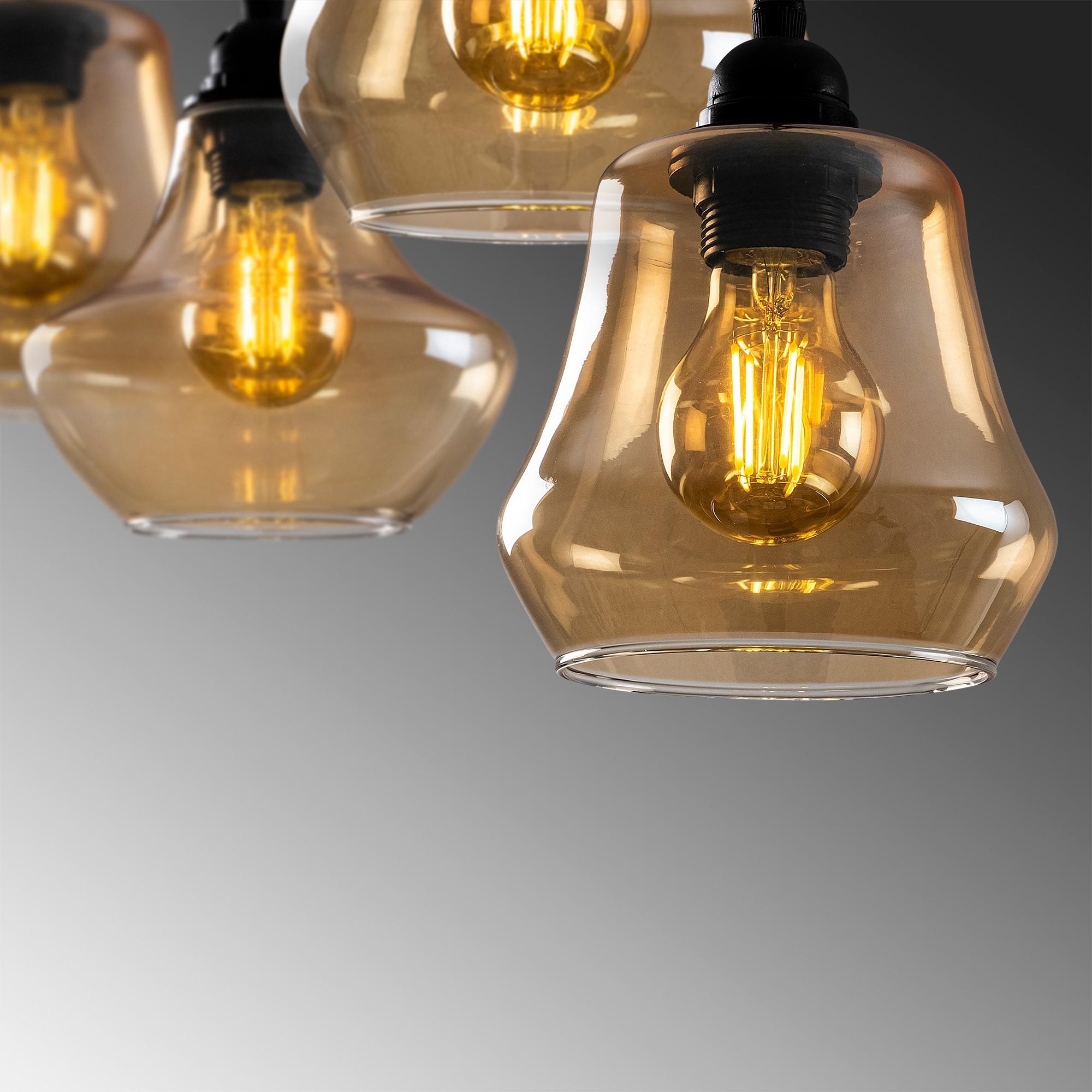 Hanglamp langwerpig modern, gouden glas E27 fitting 7 x - closeup