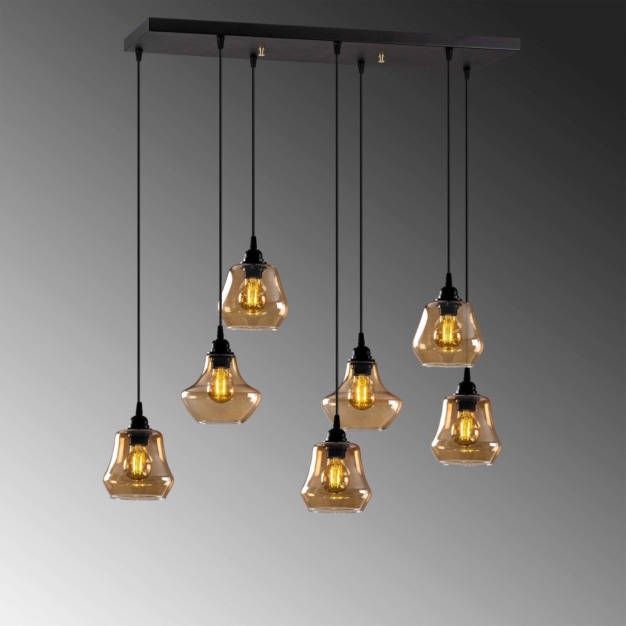 Hanglamp langwerpig modern, gouden glas E27 fitting 7 x - grijze achtergrond
