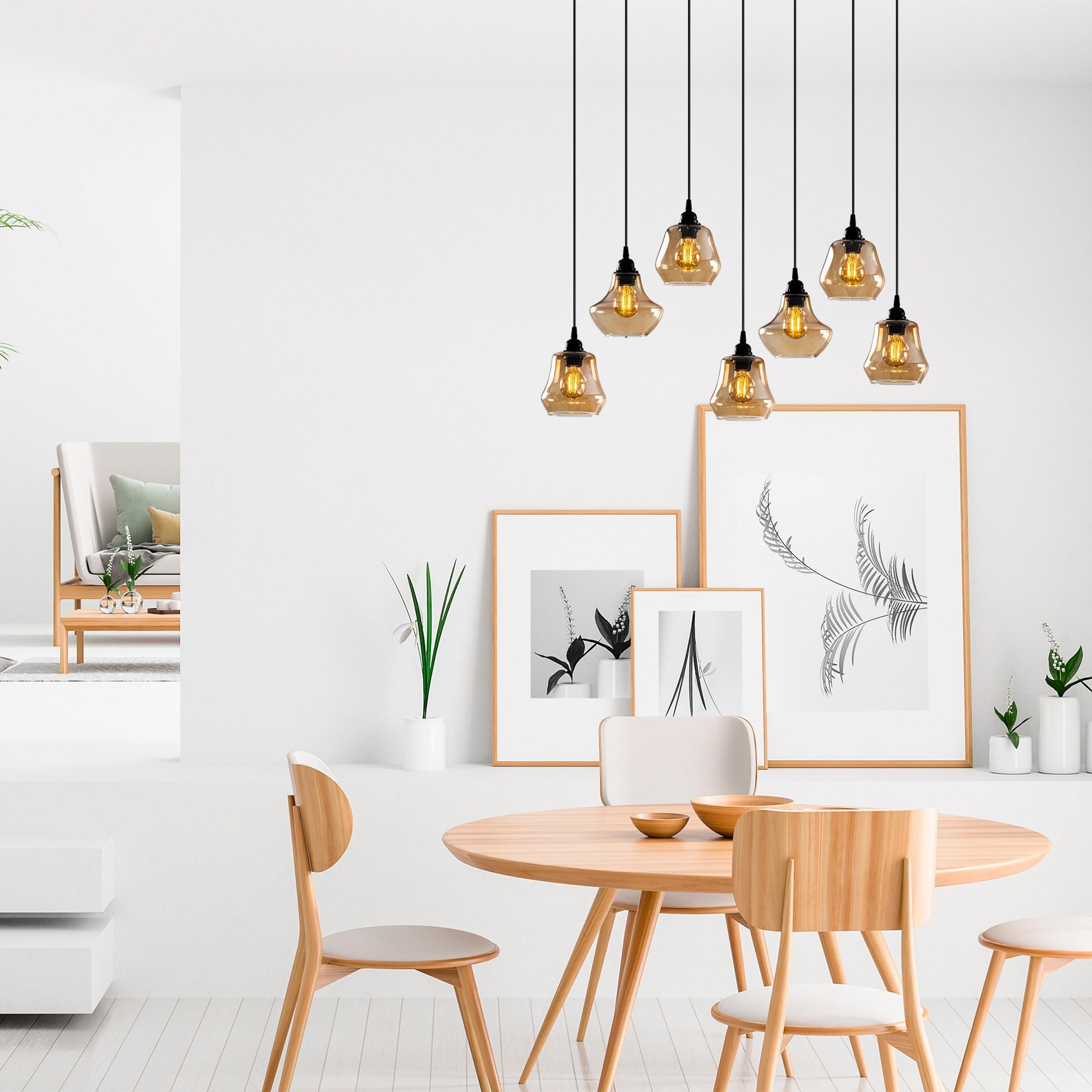 Hanglamp langwerpig modern, gouden glas E27 fitting 7 x - inrichting