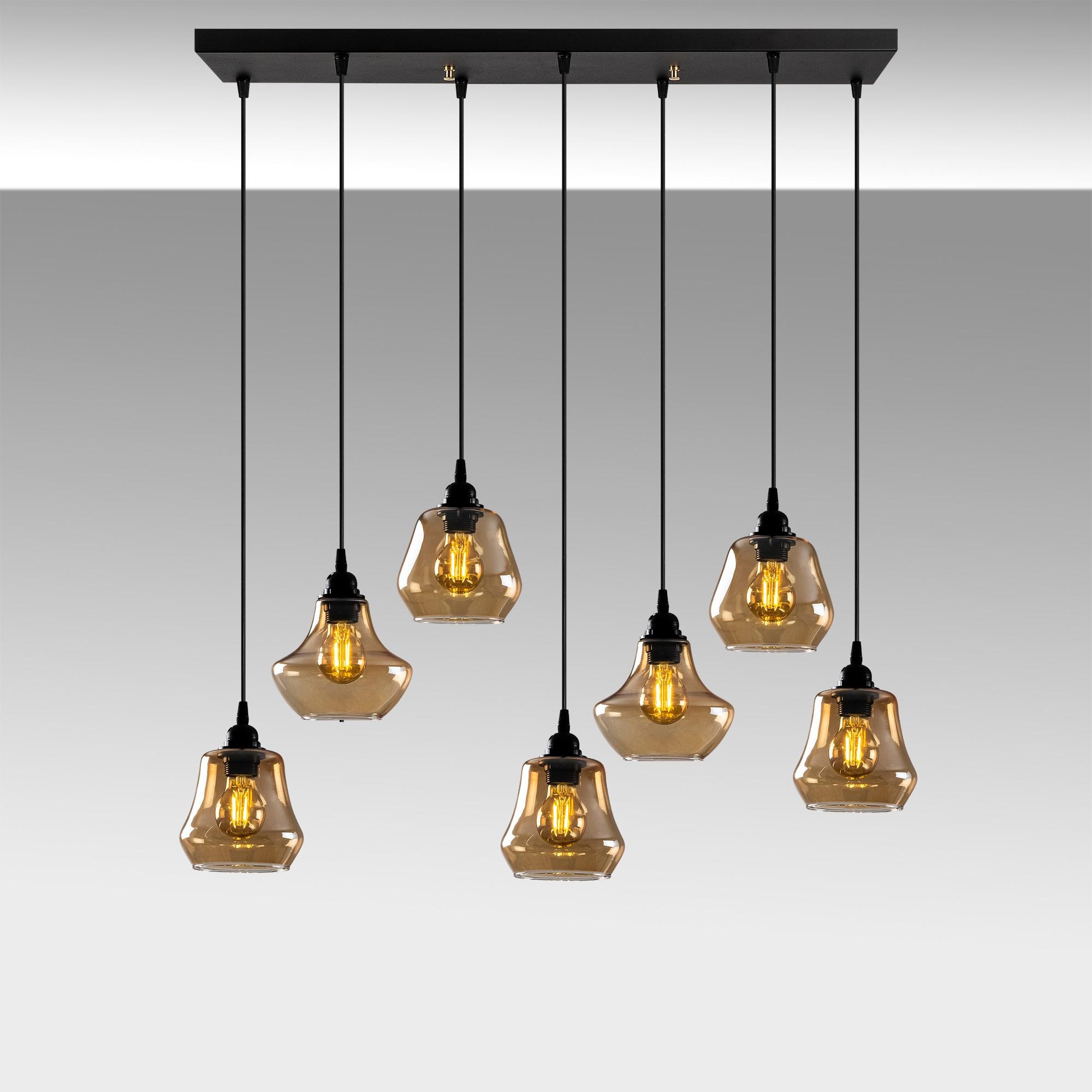 Hanglamp langwerpig modern, gouden glas E27 fitting 7 x - sfeerfoto