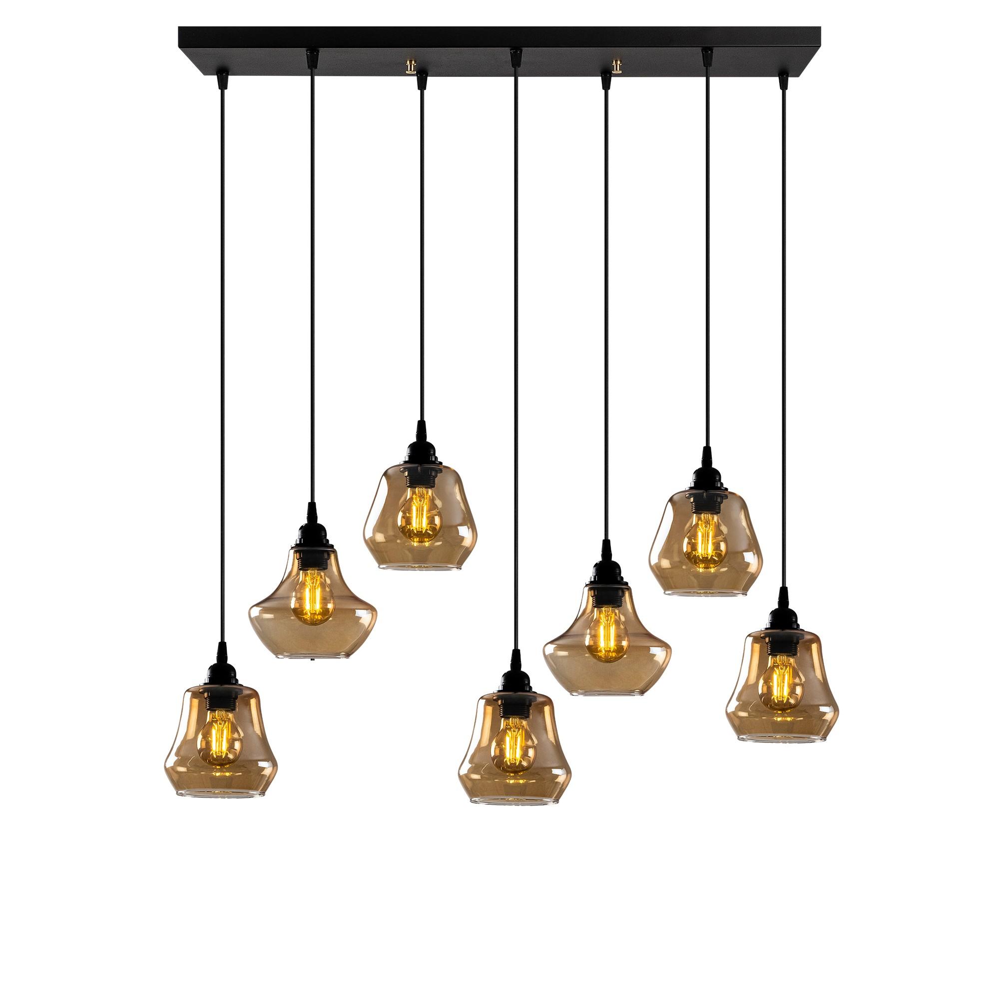 Hanglamp langwerpig modern, gouden glas E27 fitting 7 x - vooraanzicht lampen aan
