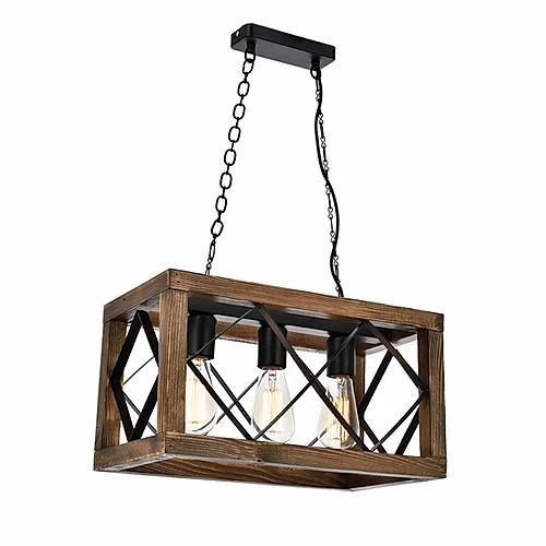 Hanglamp rechthoekig met 3x E27 fitting zwart