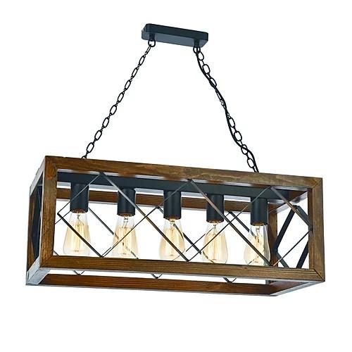 Rechthoekige hanglamp van hout en metaal E27 fittingen