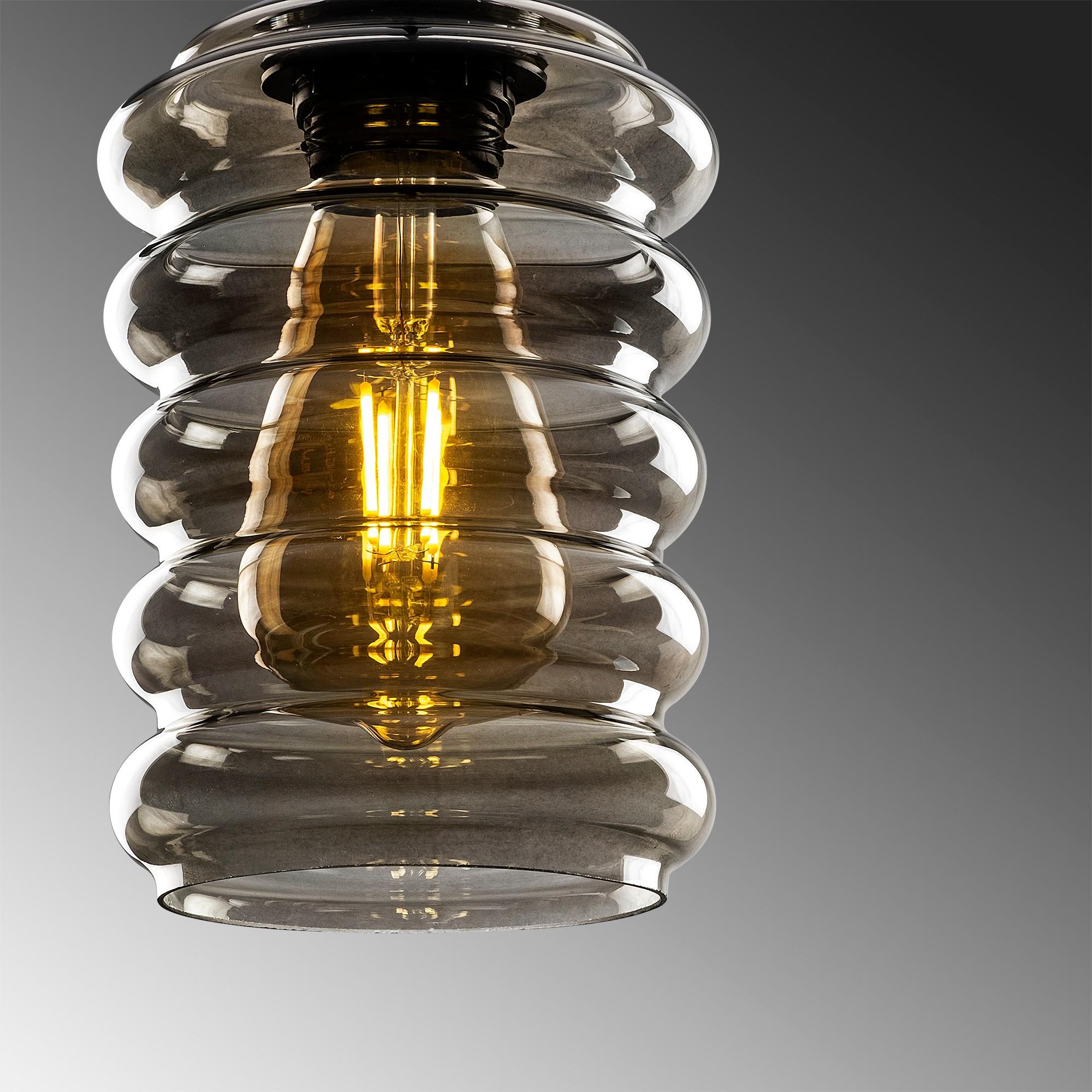 Hanglamp langwerpig smoked glass zwart e27 fitting - close-up