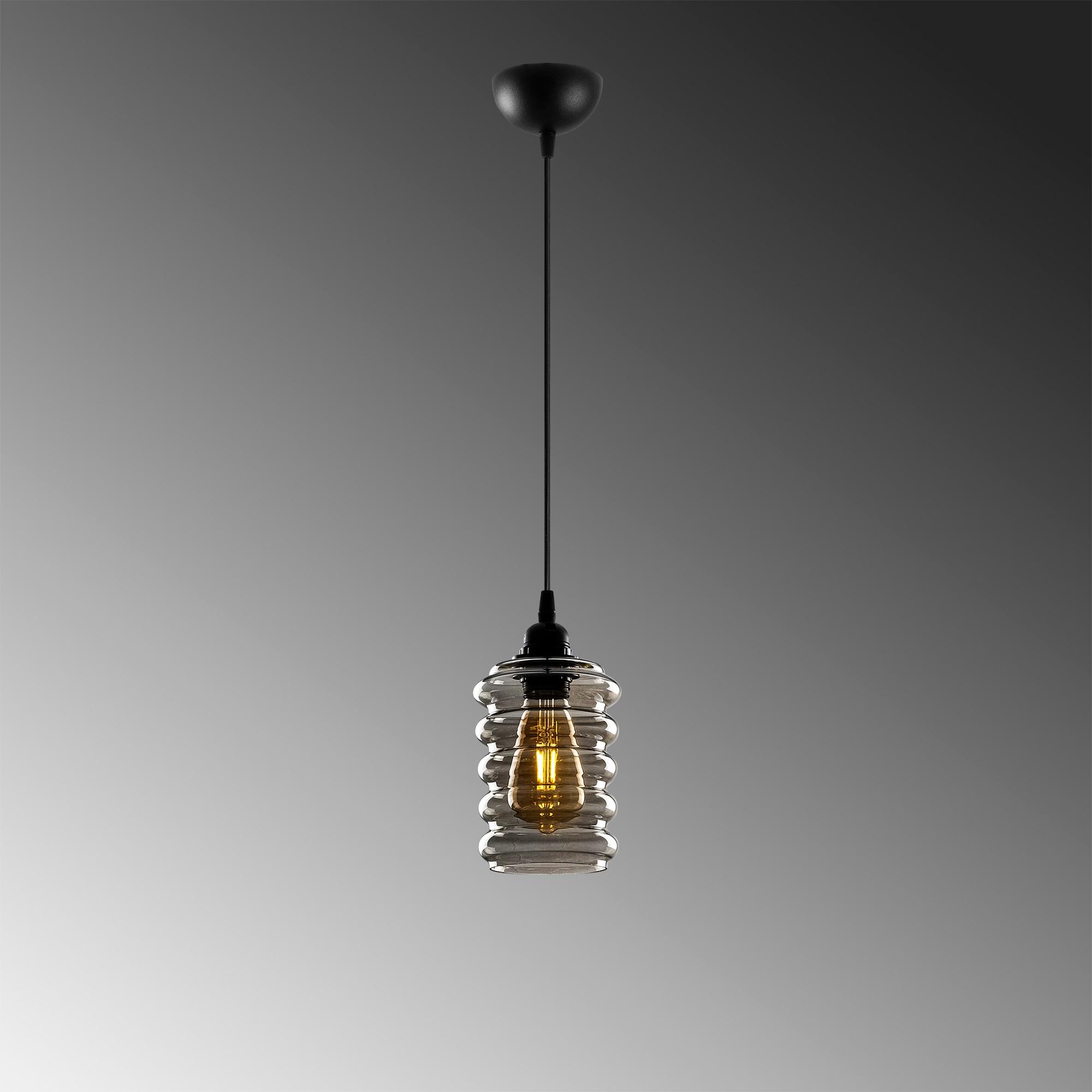Hanglamp langwerpig smoked glass zwart e27 fitting - grijze achtergrond