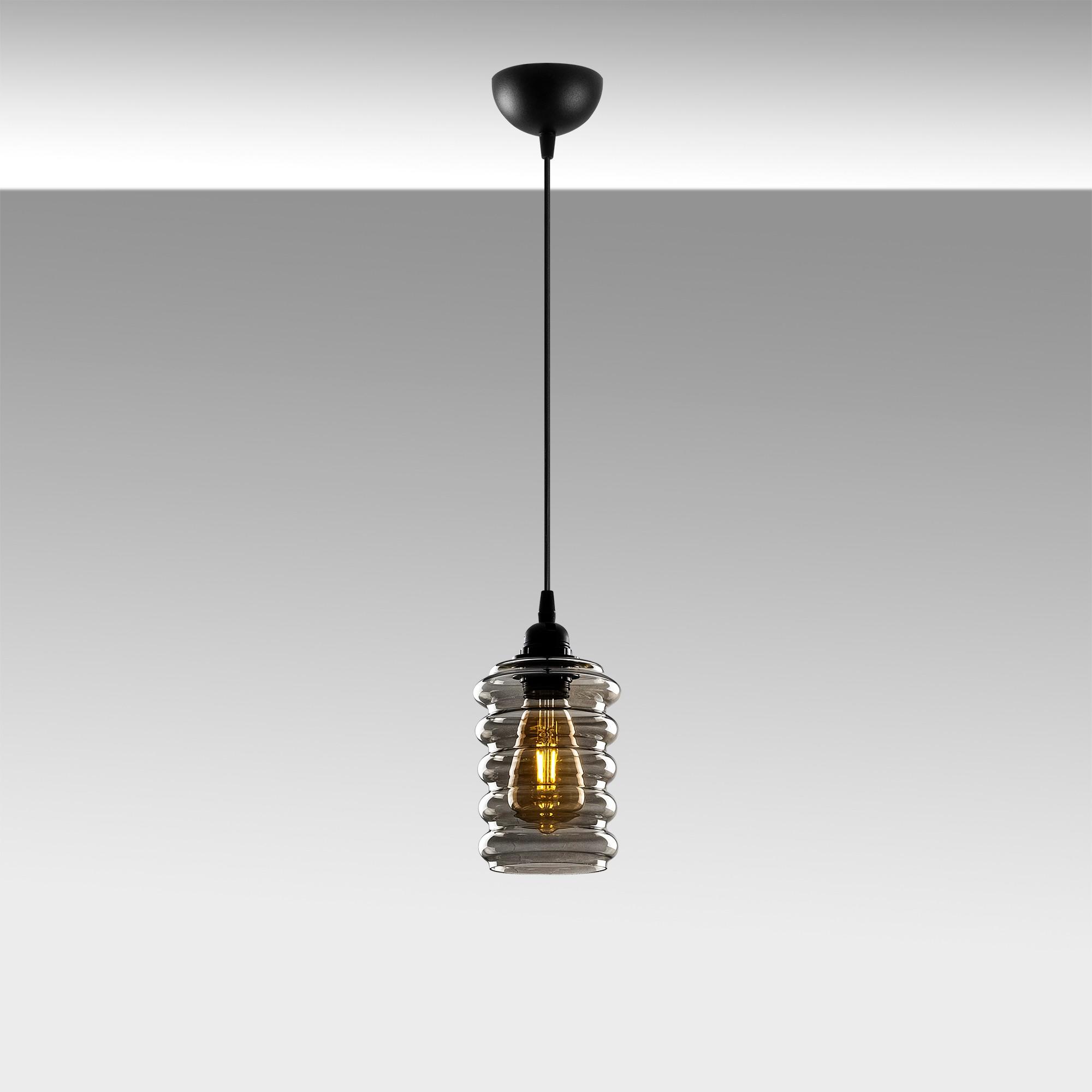 Hanglamp langwerpig smoked glass zwart e27 fitting - sfeerfoto grijs