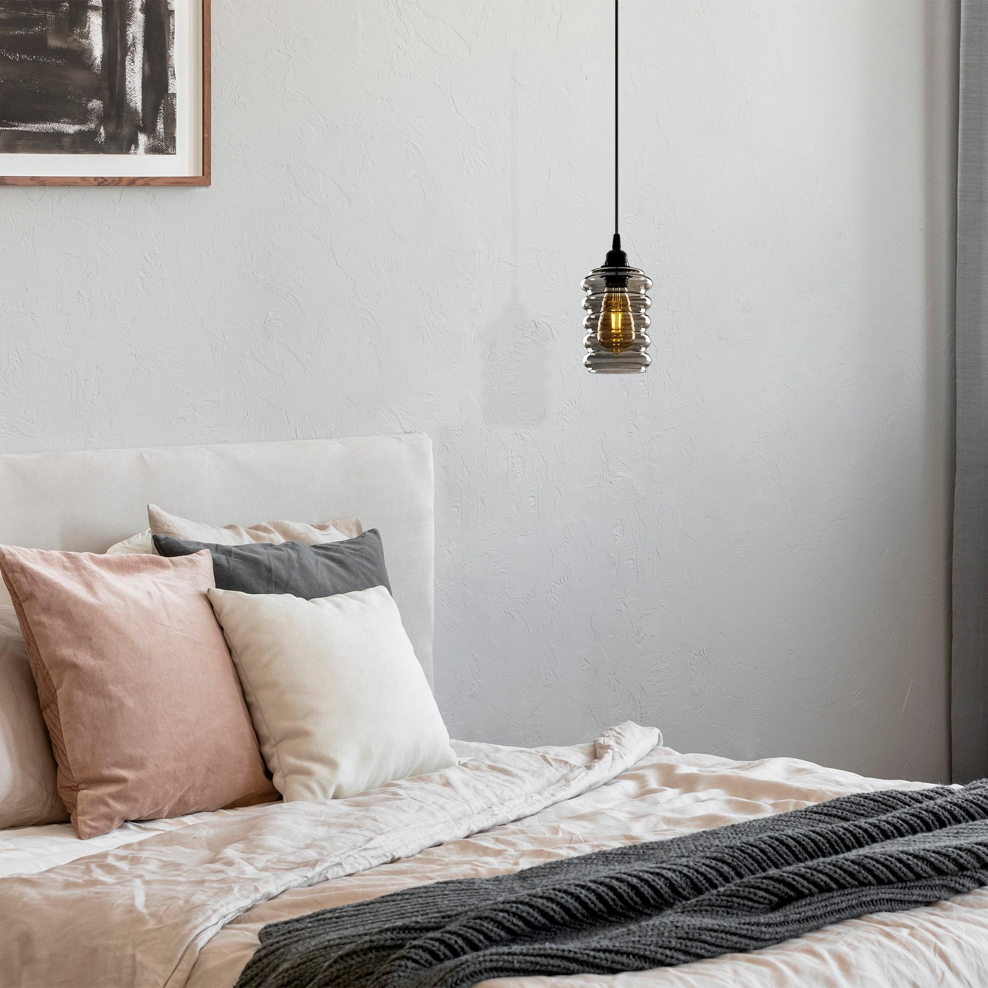 Hanglamp langwerpig smoked glass zwart e27 fitting - inrichting