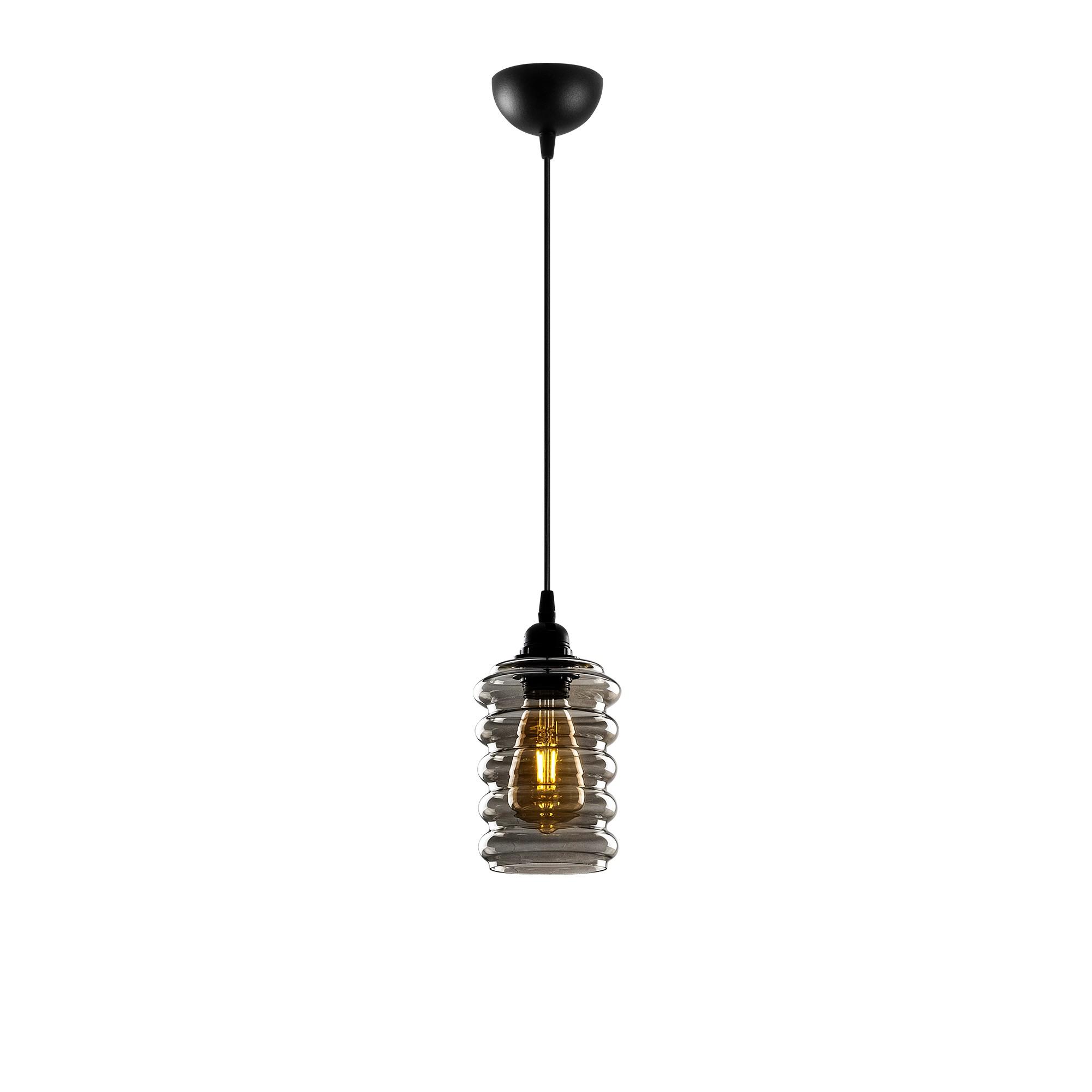 Hanglamp langwerpig smoked glass zwart e27 fitting - vooraanzicht lamp aan