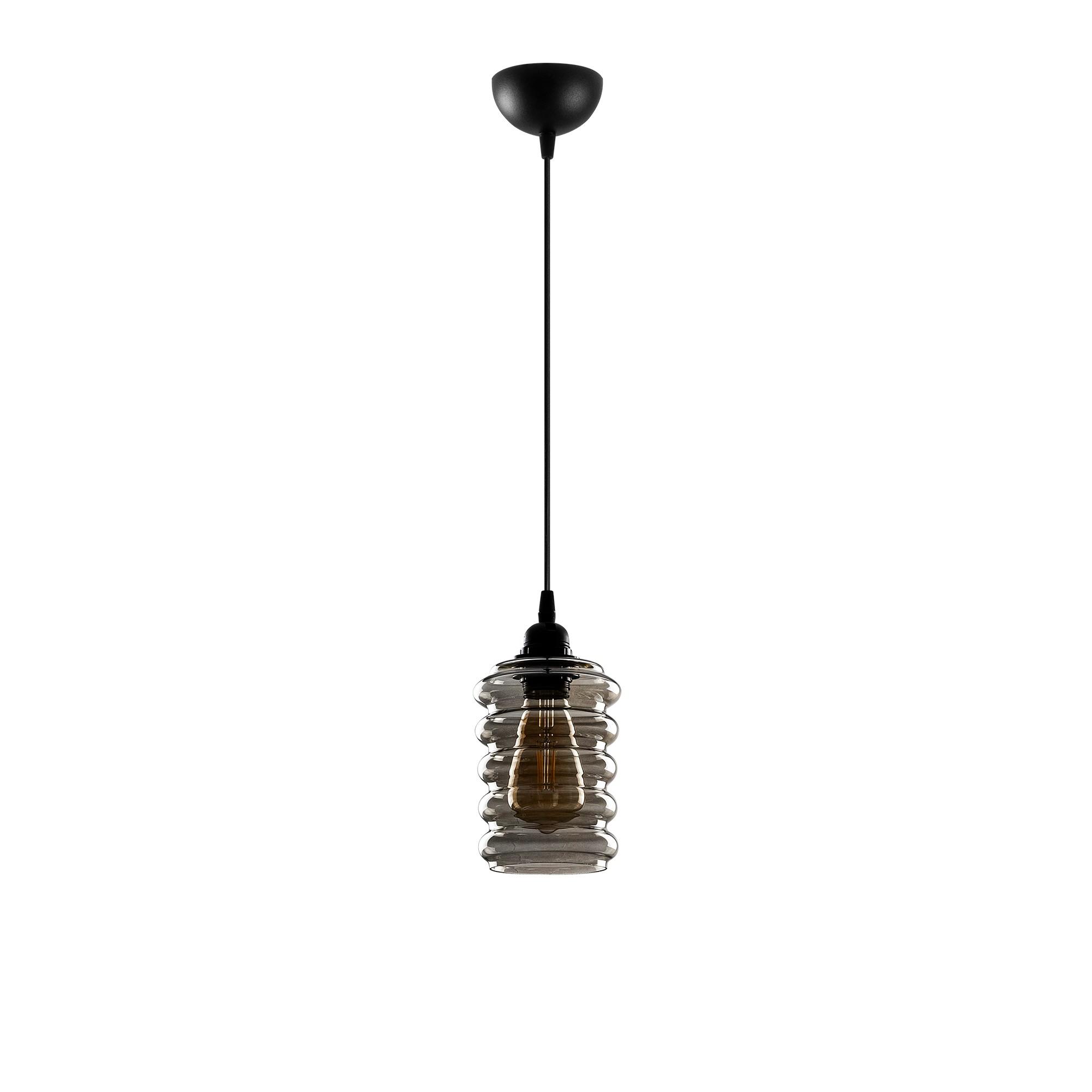 Hanglamp langwerpig smoked glass zwart e27 fitting - vooraanzicht lamp uit