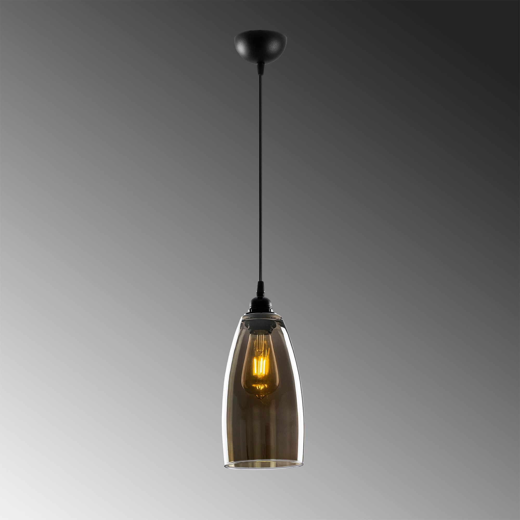 Hanglamp glad smoked glass langwerpig 1 x E27 fitting - grijze achtergrond