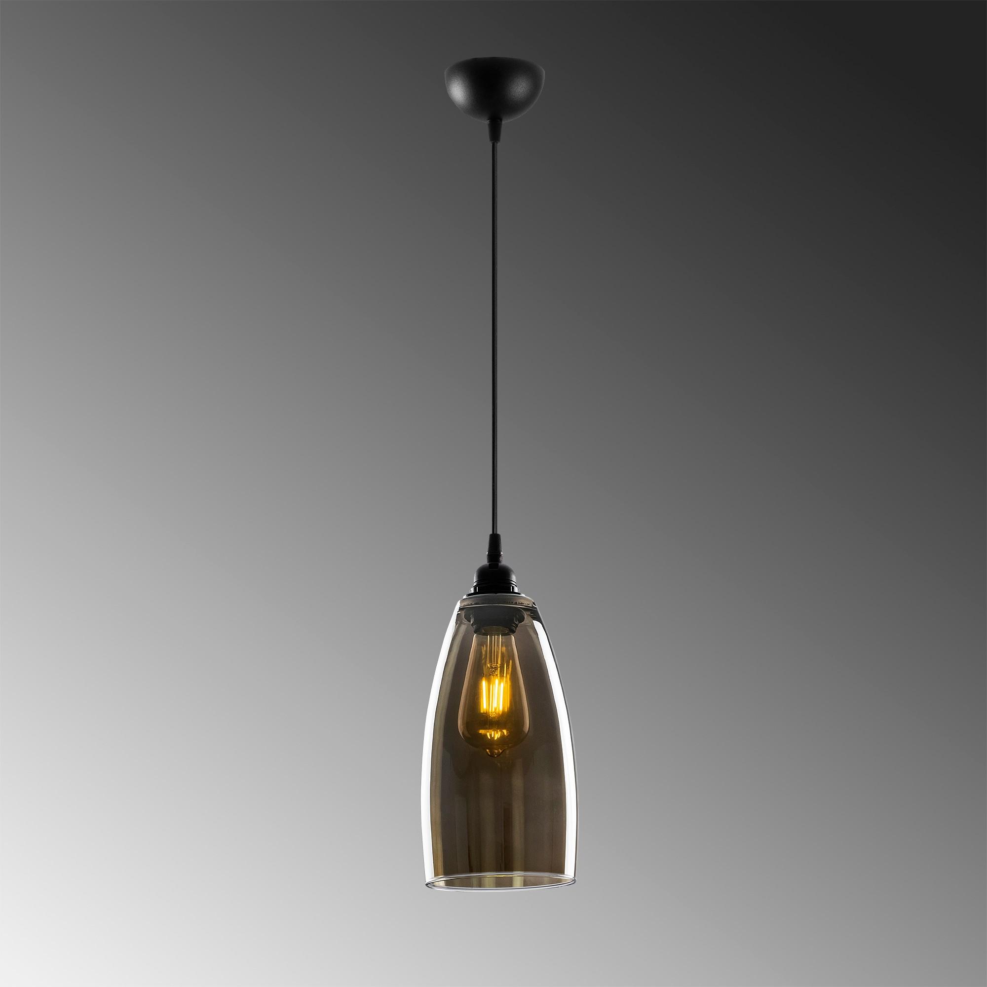 Hanglamp glad smoked glass langwerpig 1 x E27 fitting - grijze achtergrond