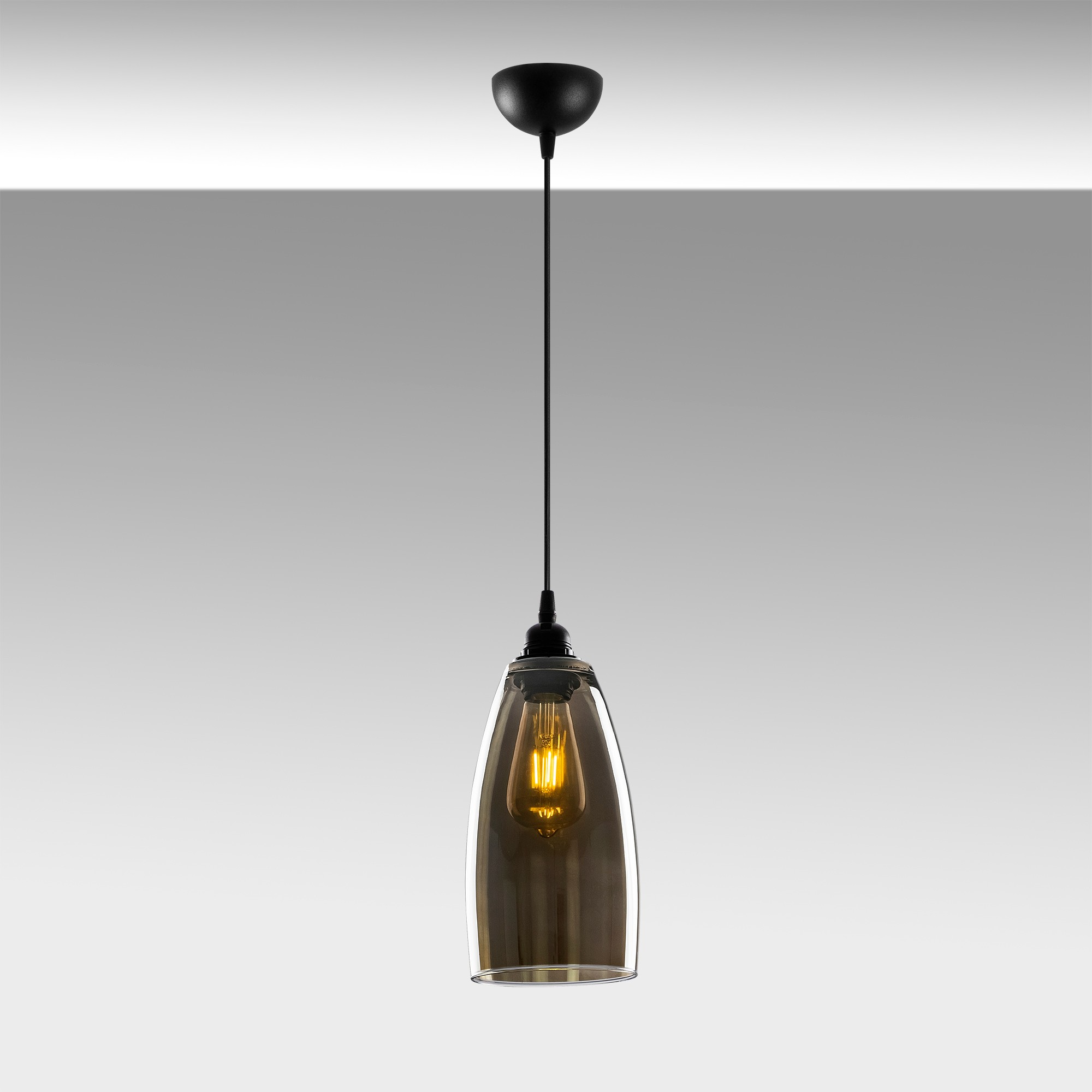 Hanglamp glad smoked glass langwerpig 1 x E27 fitting - sfeerfoto