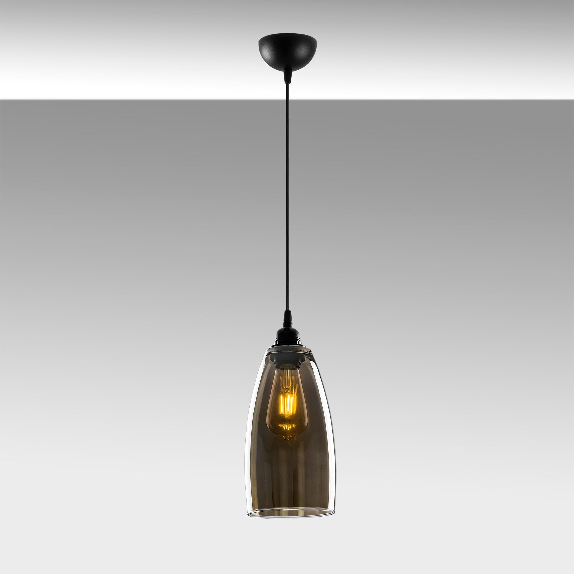Hanglamp glad smoked glass langwerpig 1 x E27 fitting - sfeerfoto