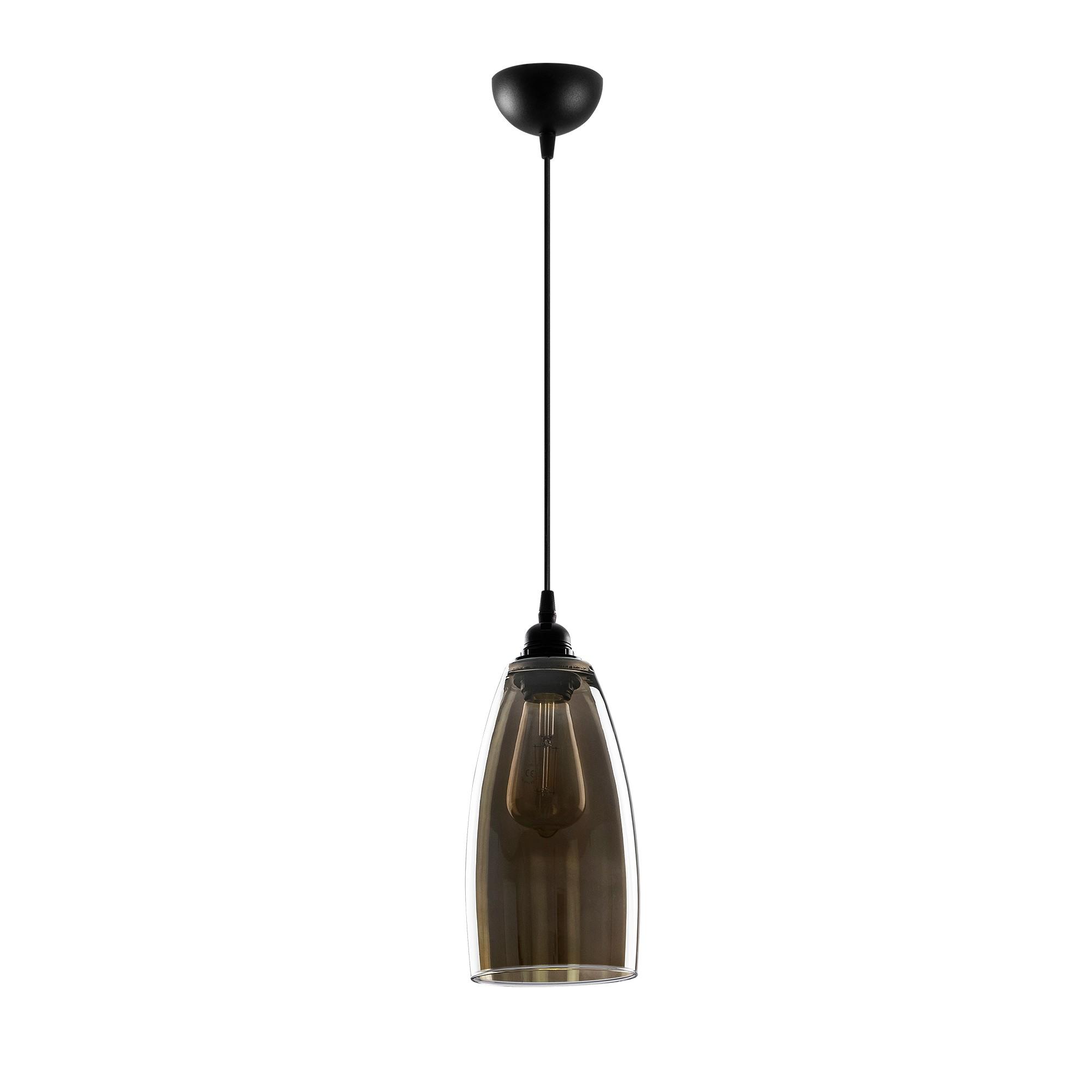 Hanglamp glad smoked glass langwerpig 1 x E27 fitting - vooraanzicht lamp uit