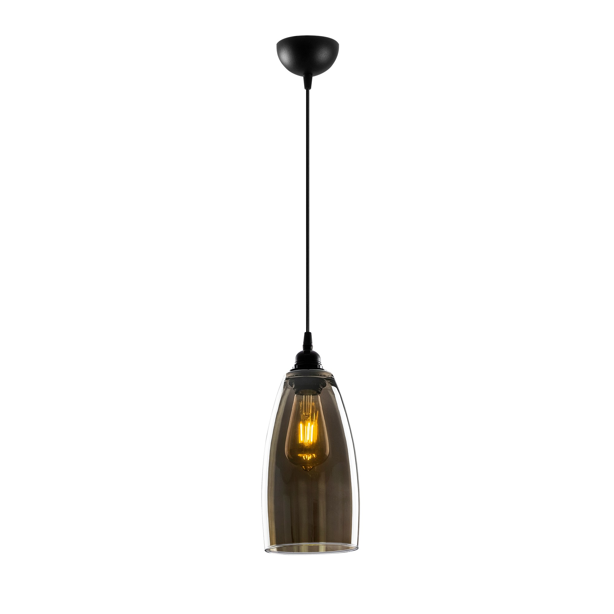 Hanglamp glad smoked glass langwerpig 1 x E27 fitting - vooraanzicht lamp aan