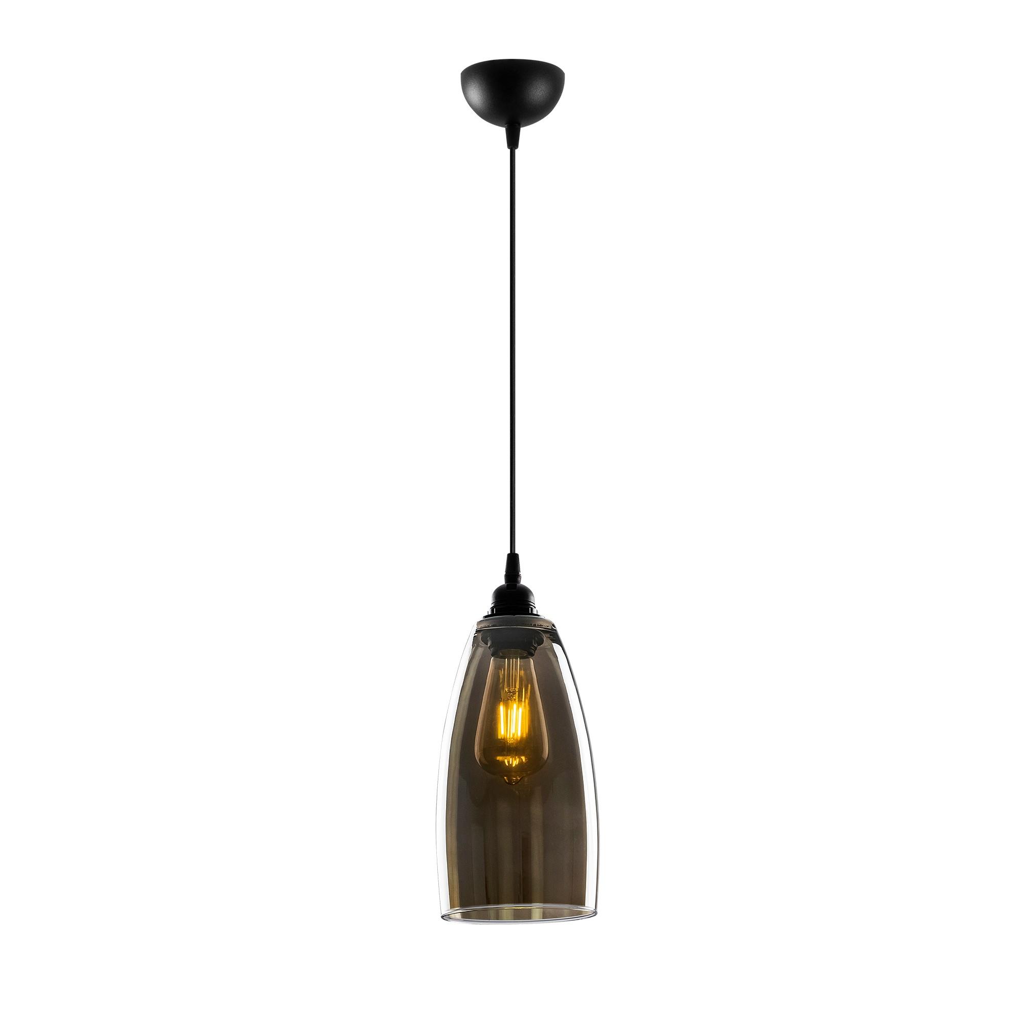 Hanglamp glad smoked glass langwerpig 1 x E27 fitting - vooraanzicht lamp aan
