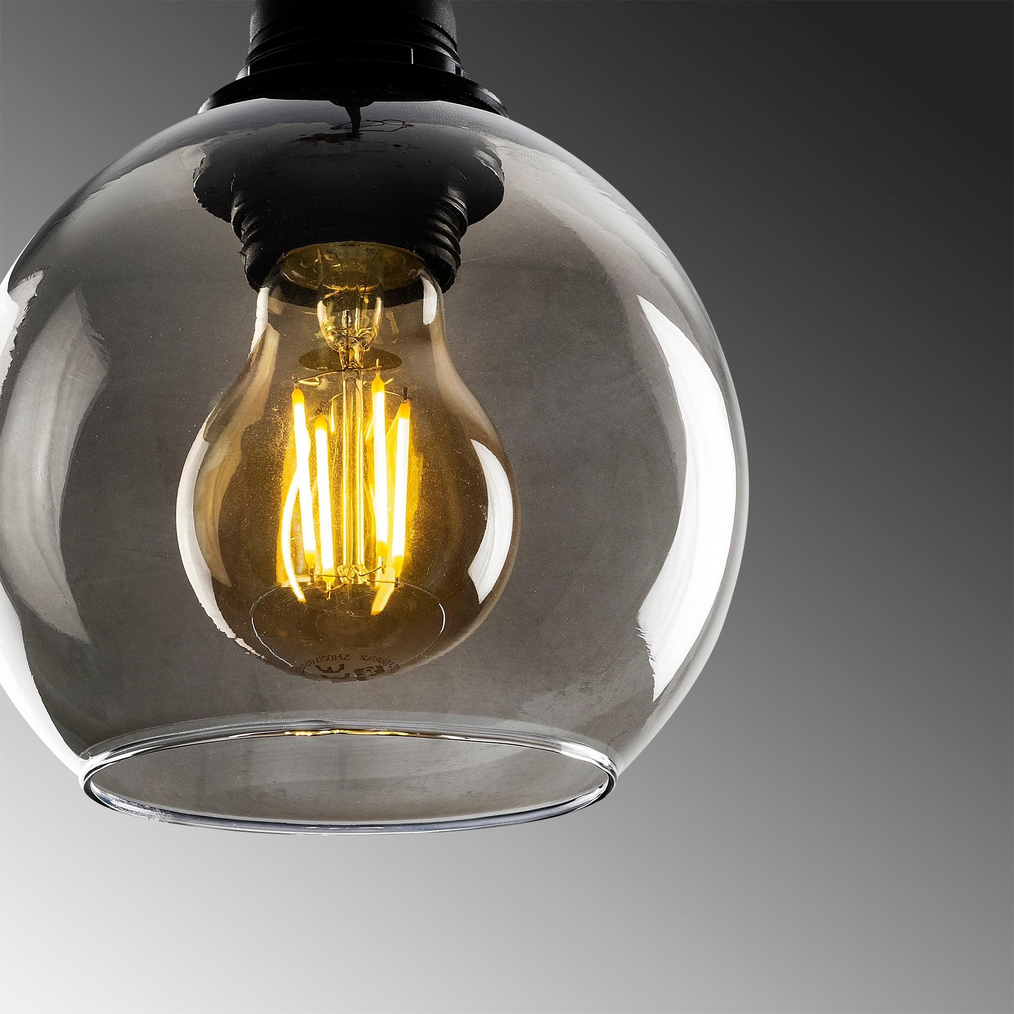 Hanglamp gerookt glas zwart 1 x E27 fitting - close-up