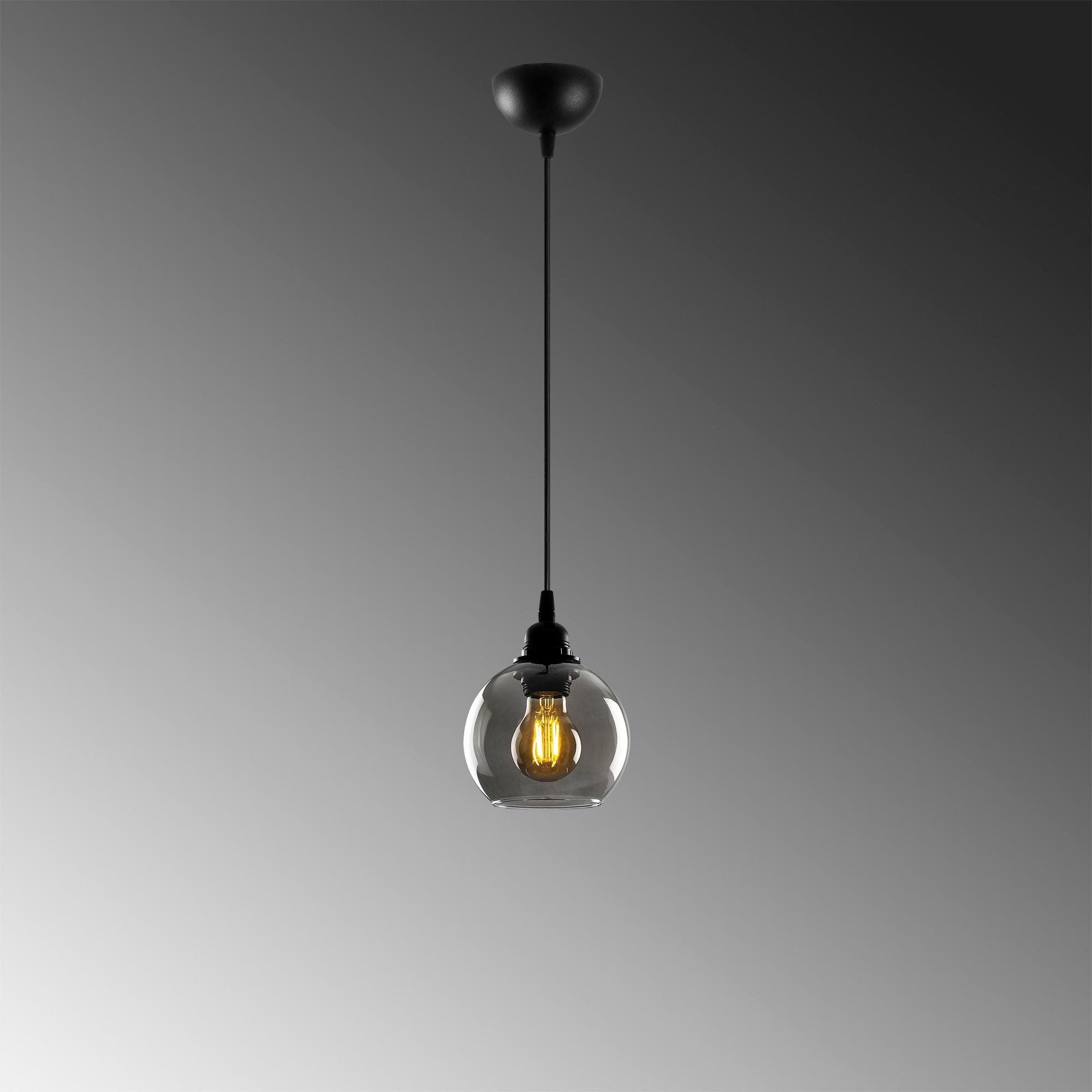 Hanglamp gerookt glas zwart 1 x E27 fitting - grijze achtergrond