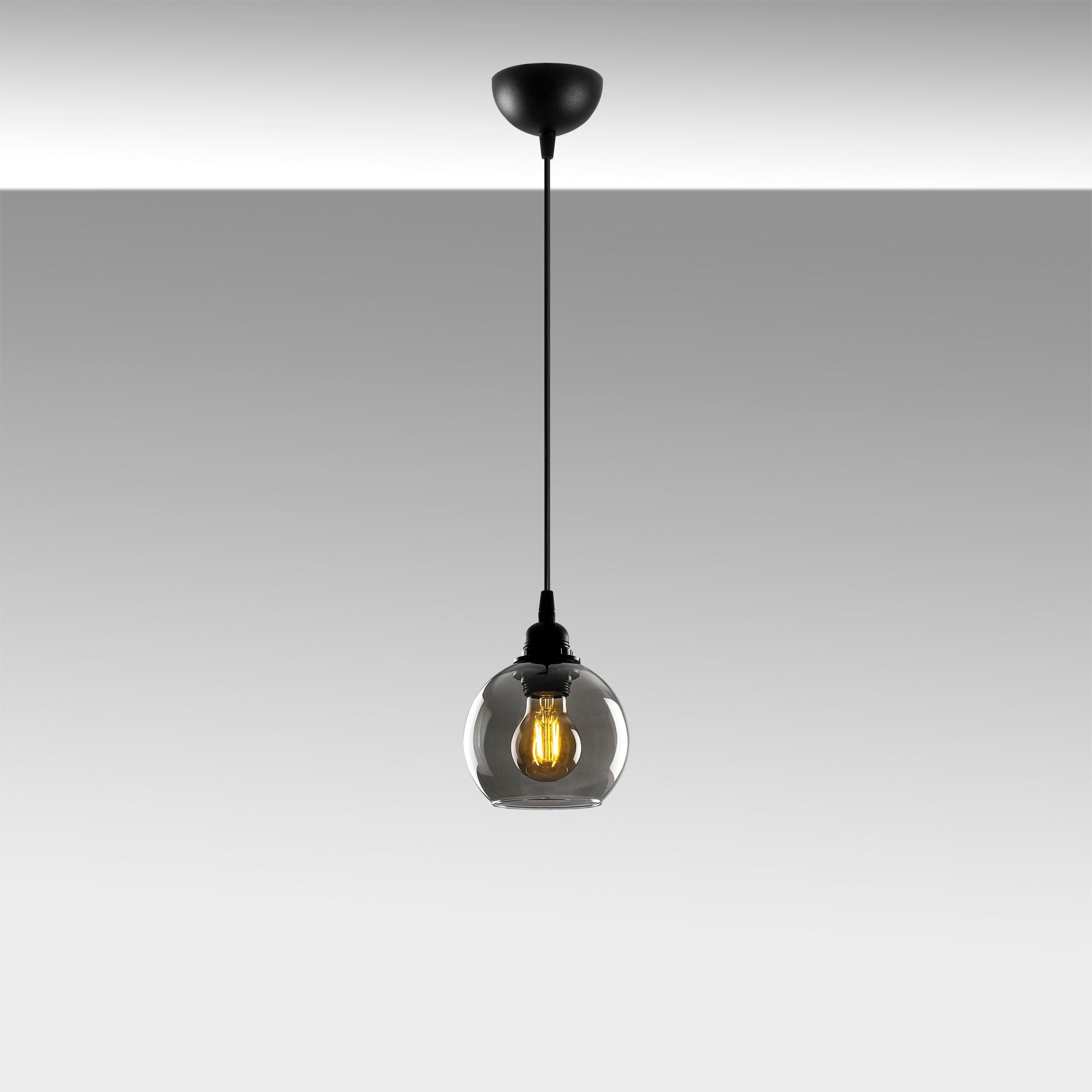 Hanglamp gerookt glas zwart 1 x E27 fitting - sfeerfoto