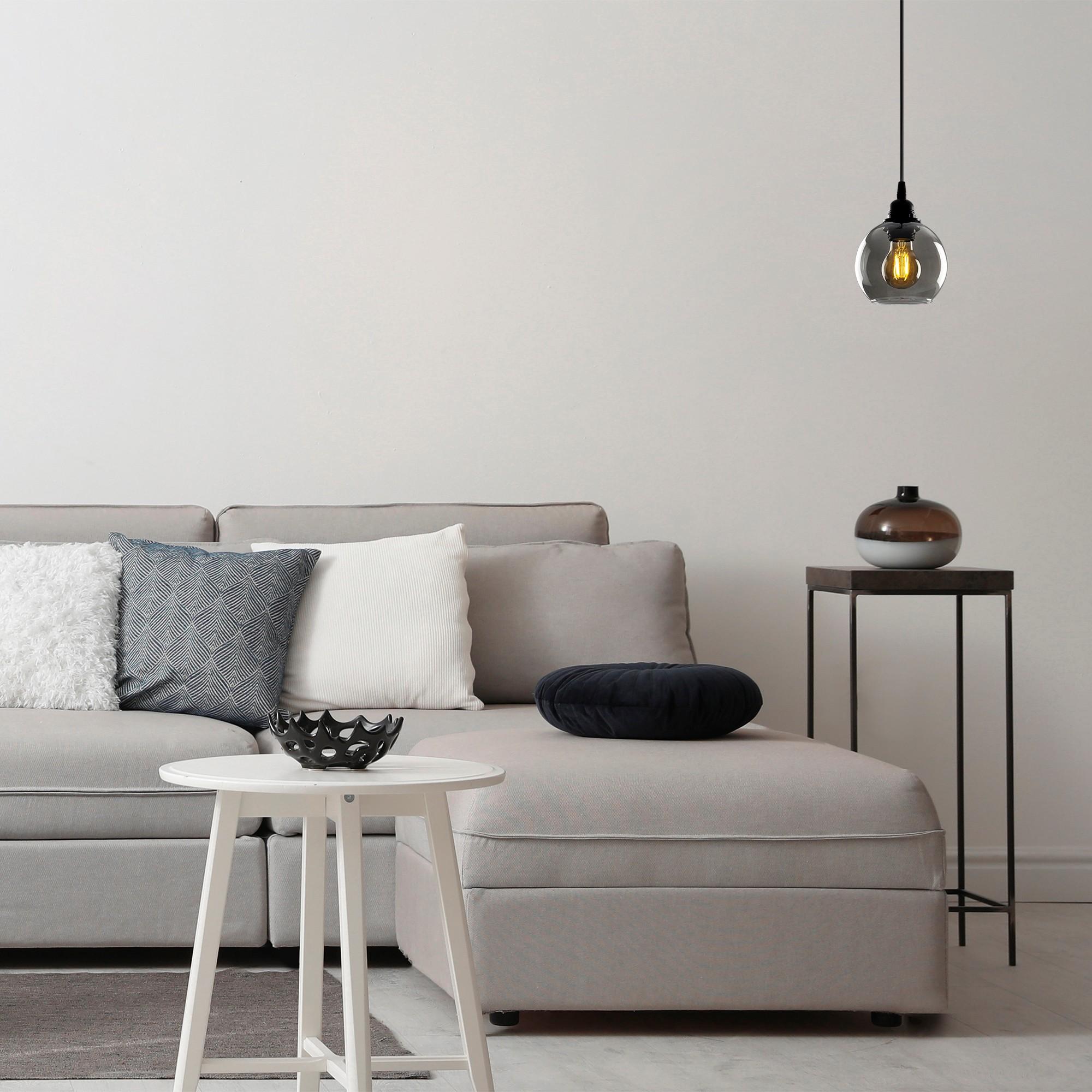 Hanglamp gerookt glas zwart 1 x E27 fitting - inrichting