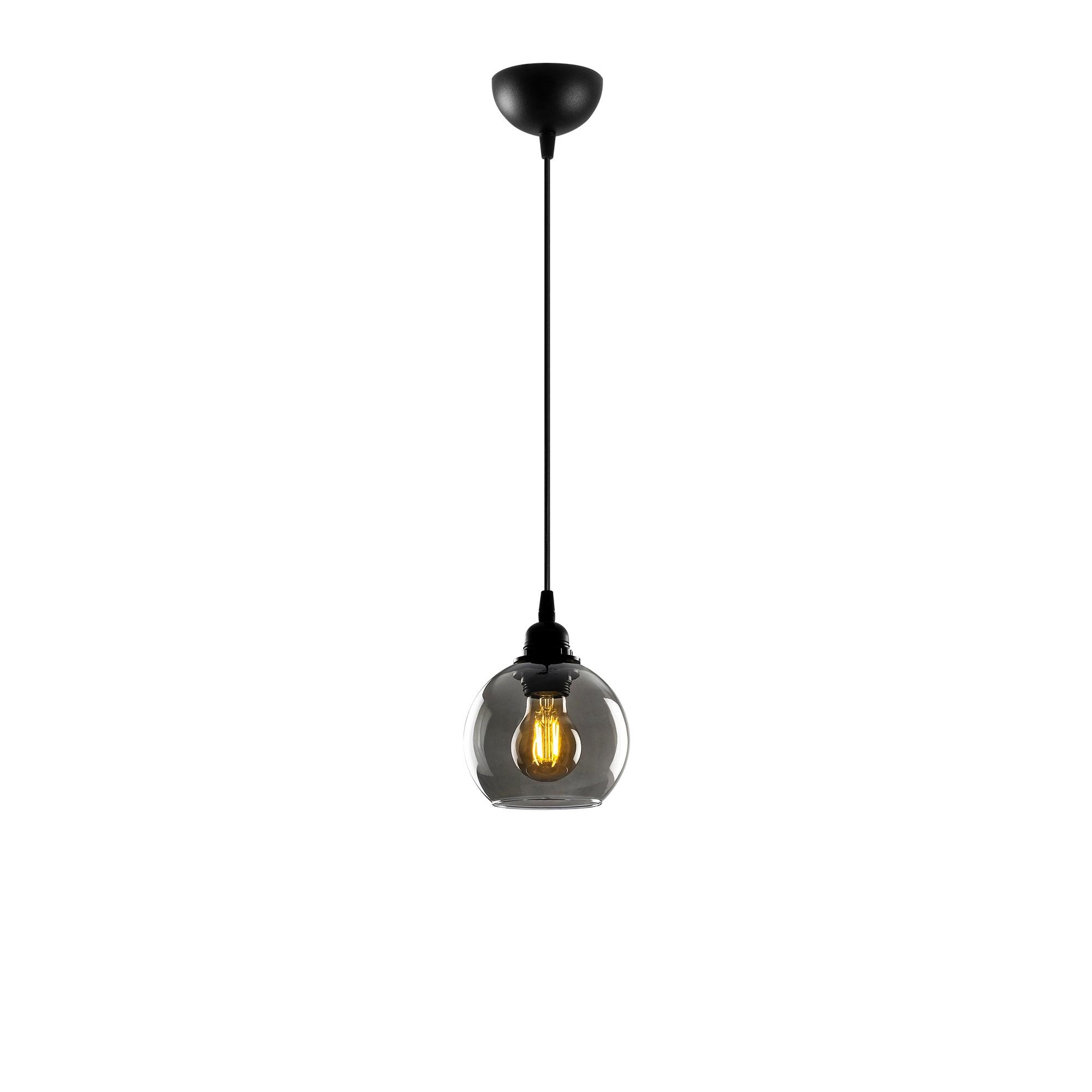 Hanglamp gerookt glas zwart 1 x E27 fitting - vooraanzicht lamp aan