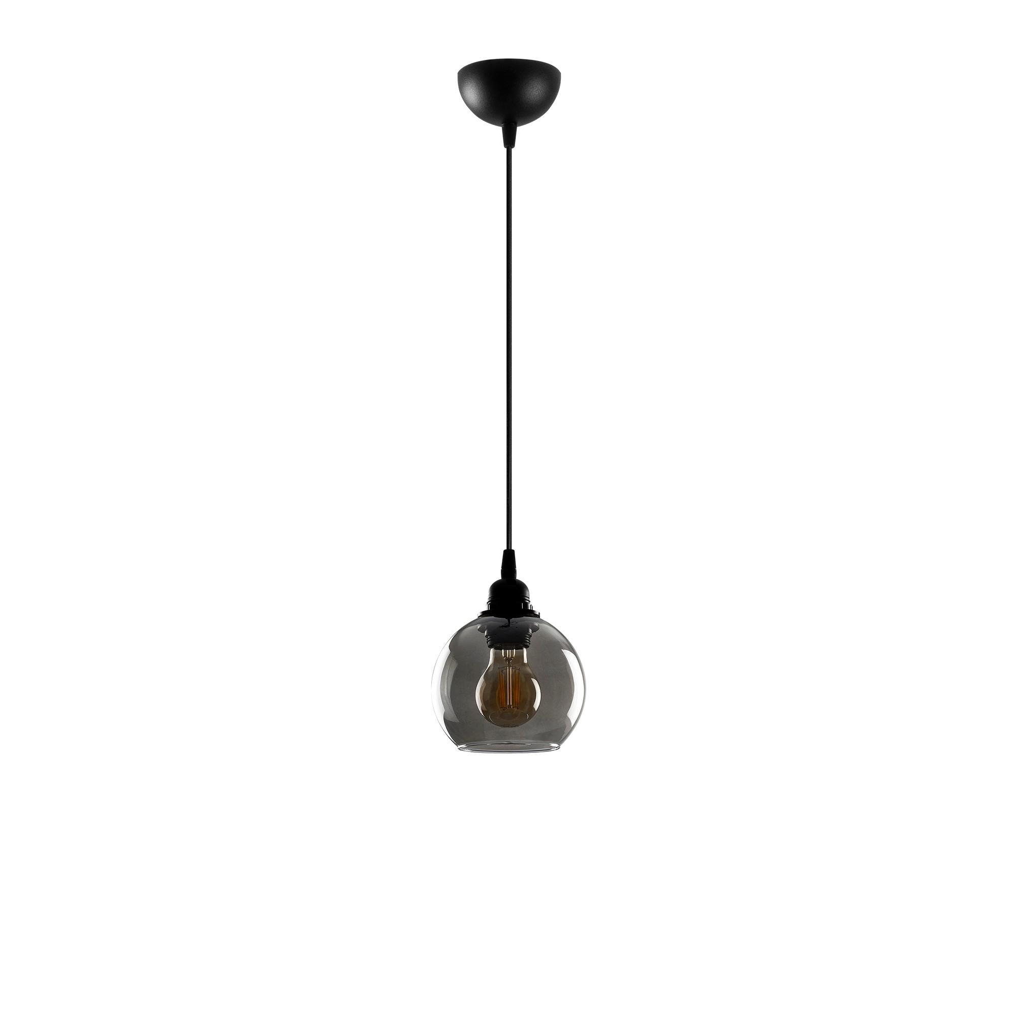 Hanglamp gerookt glas zwart 1 x E27 fitting - vooraanzicht lamp uit