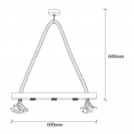 landelijke hanglamp 3 keer E27 fitting - afmetingen