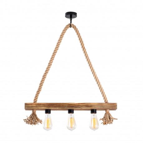 landelijke hanglamp 3 keer E27 fitting - vooraanzicht lamp aan