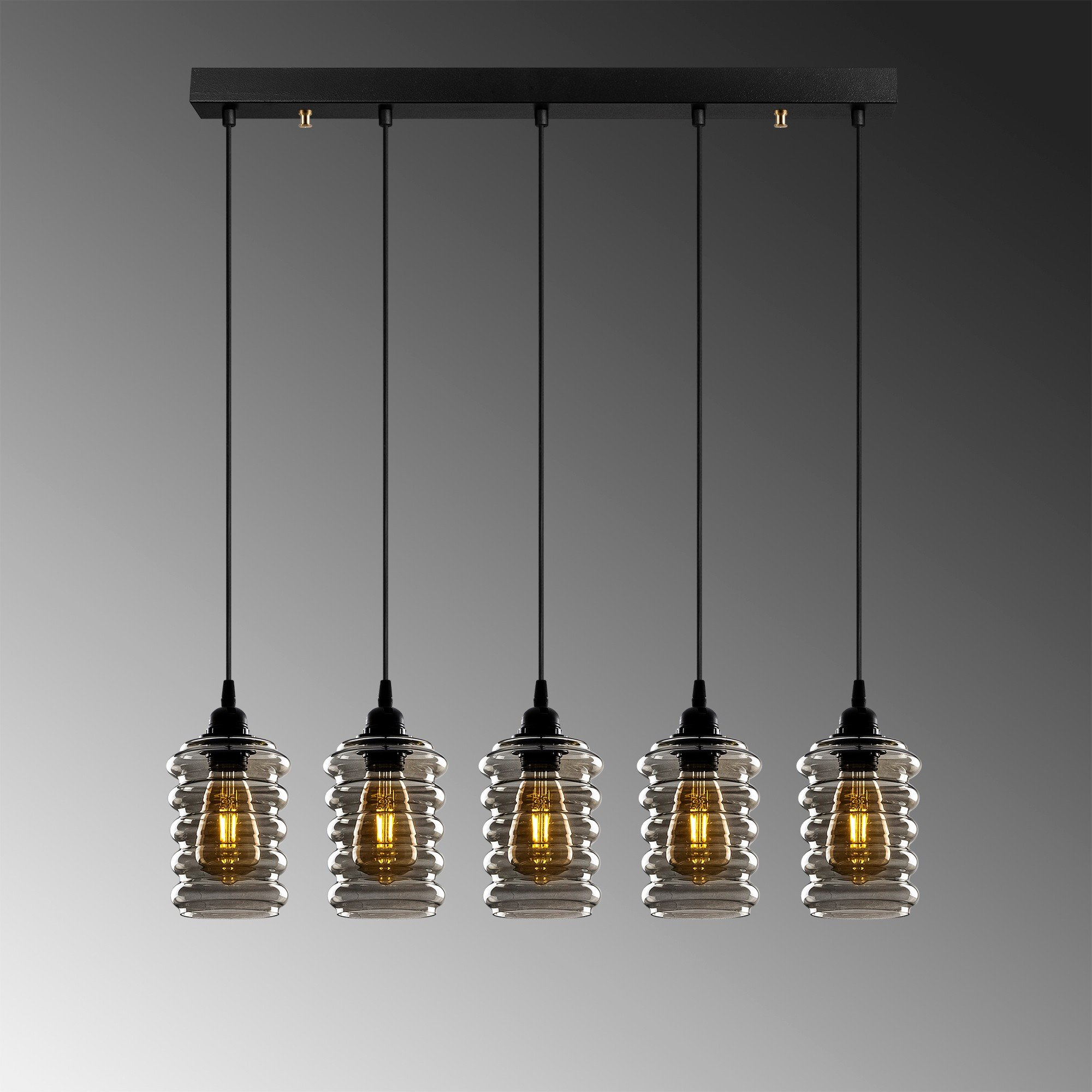 Hanglamp smoked glass 5 x E27 fitting - grijze achtergrond