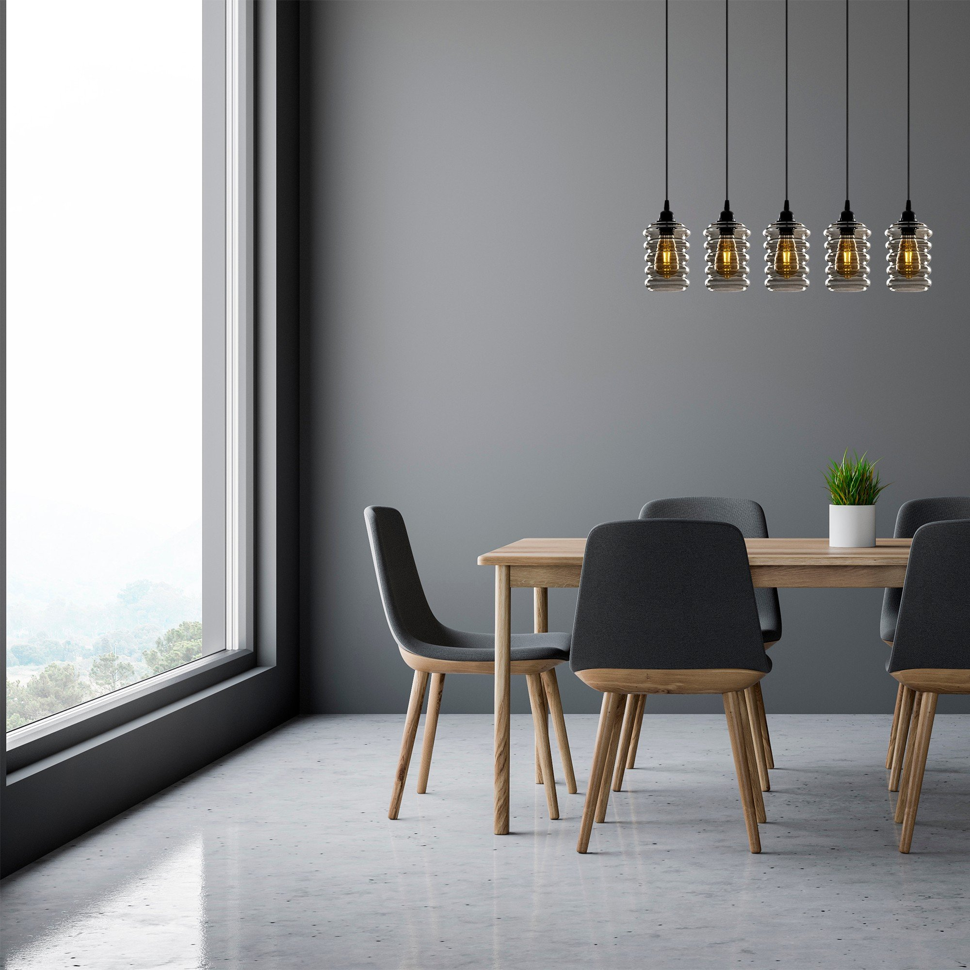 Hanglamp smoked glass 5 x E27 fitting - inrichting