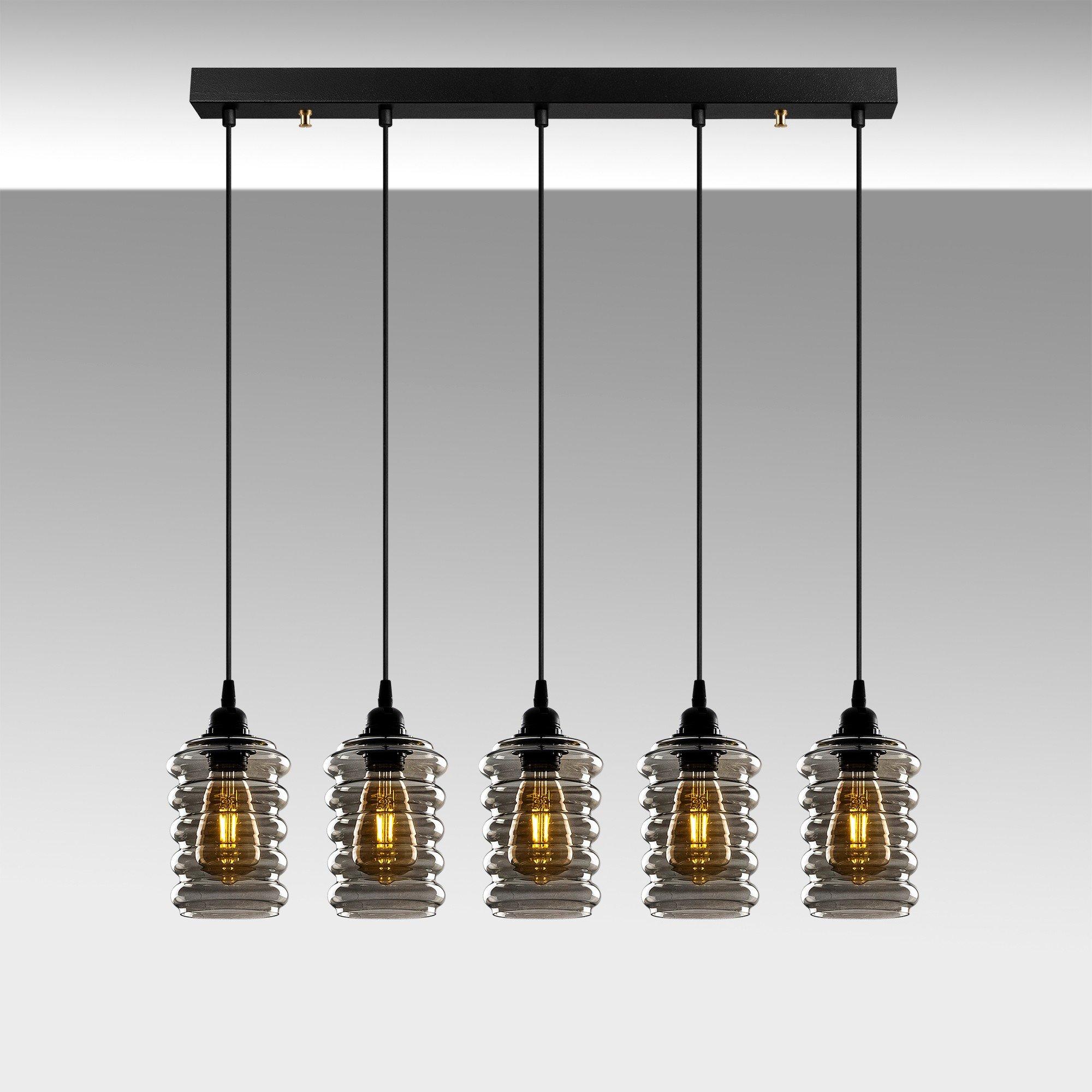 Hanglamp smoked glass 5 x E27 fitting - sfeerfoto