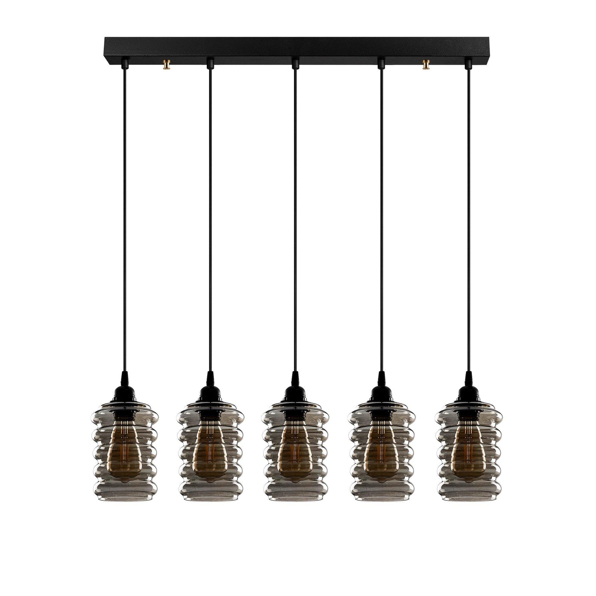 Hanglamp smoked glass 5 x E27 fitting - vooraanzicht lampen uit