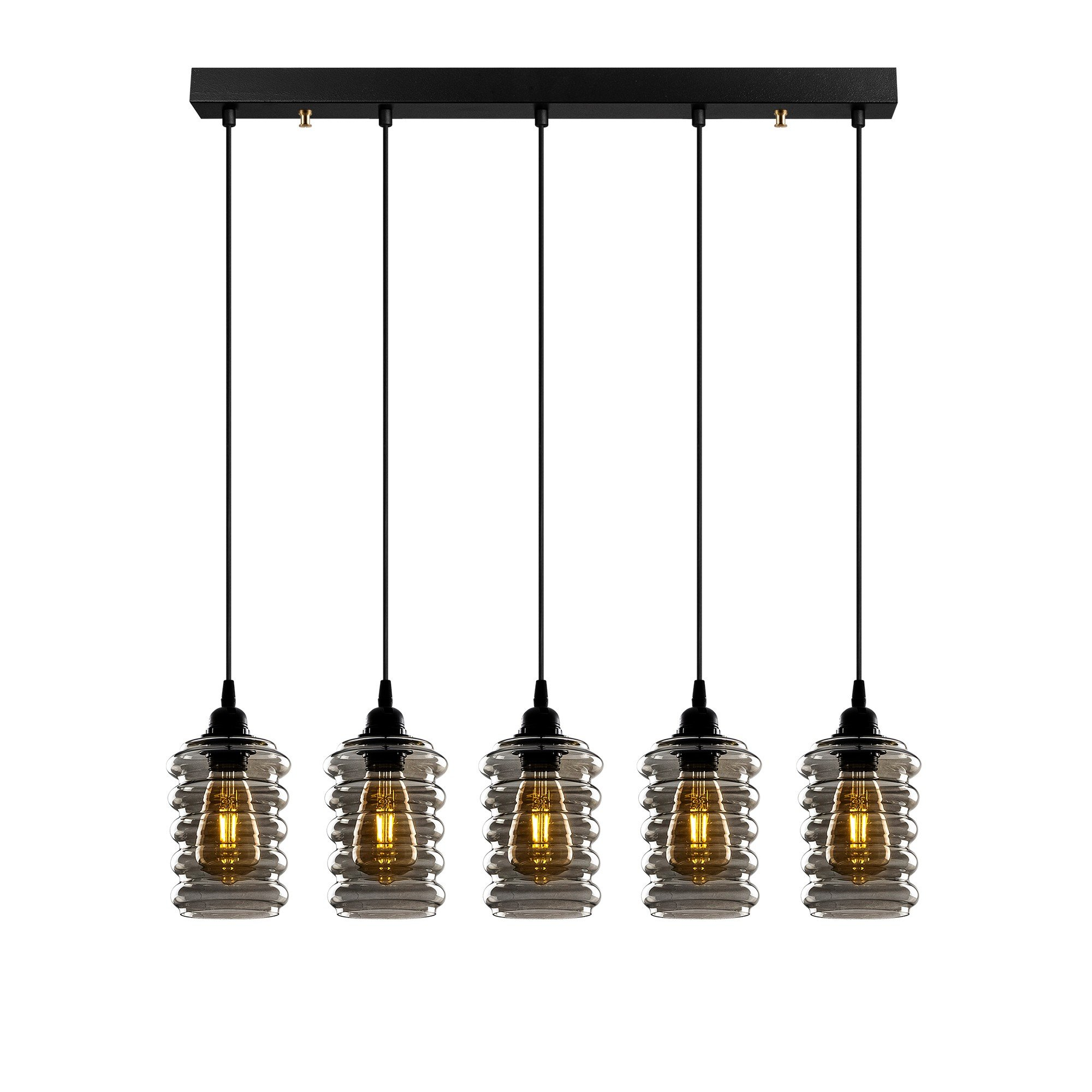 Hanglamp smoked glass 5 x E27 fitting - vooraanzicht lampen aan