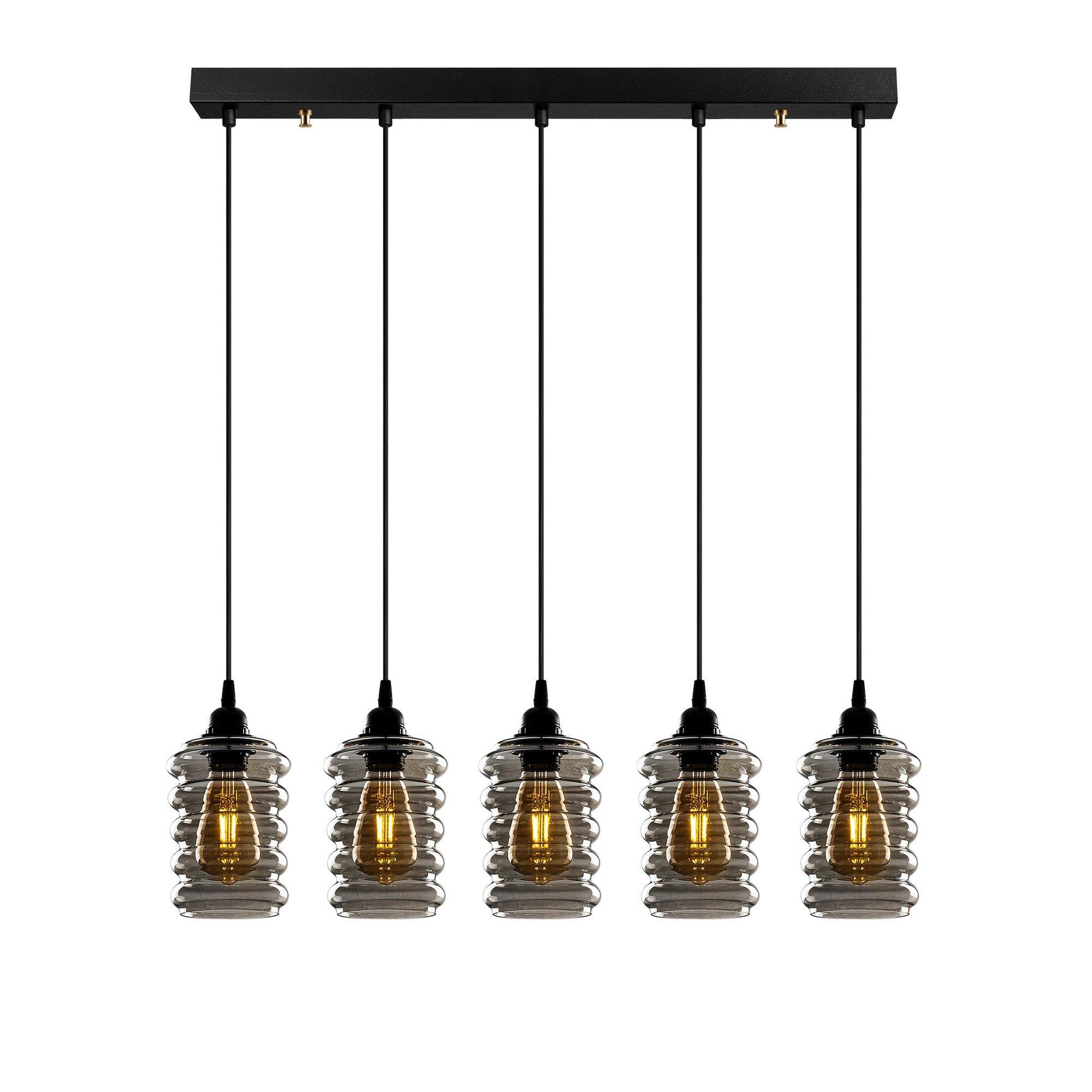 Hanglamp smoked glass 5 x E27 fitting - vooraanzicht lampen aan