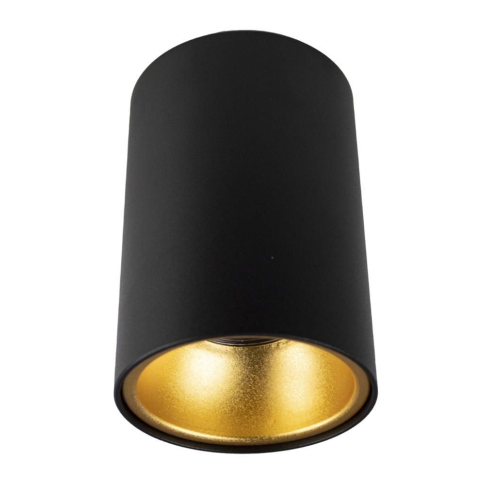 LED opbouw spot gu10 - zwart met goud - dimbaar - rond - 140mm - vooraanzicht - lamp uit