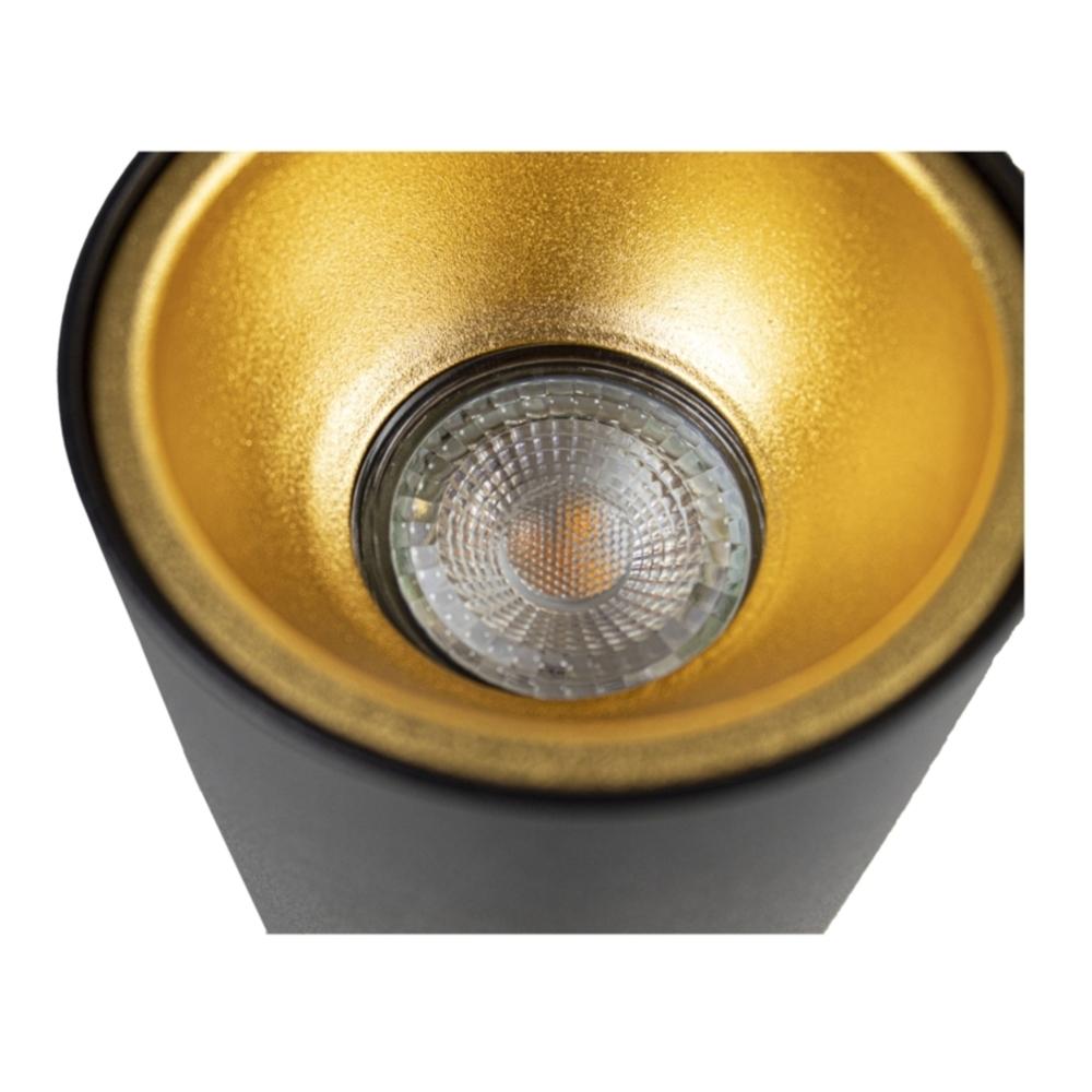 LED opbouw spot gu10 - zwart met goud - dimbaar - rond - 140mm - Onderkant spot