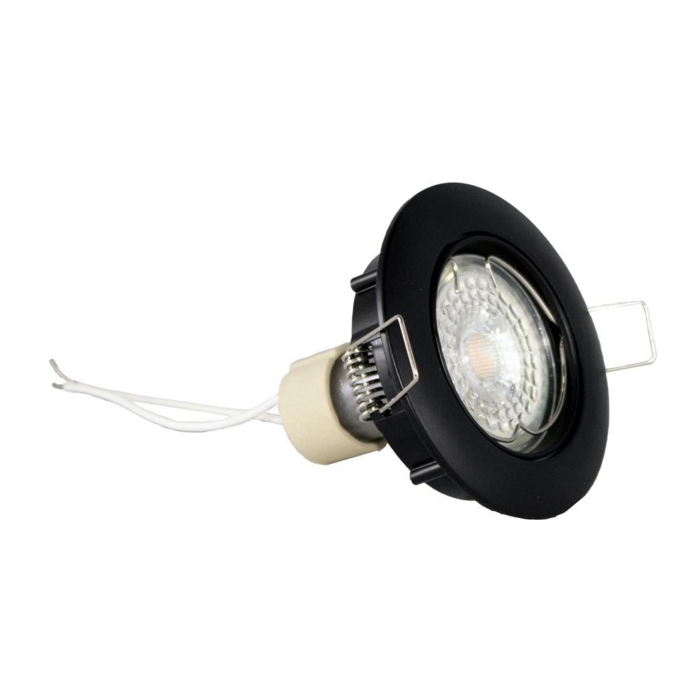 Zwart inbouw spot rond - dimbaar - 5,5 watt - zijaanzicht