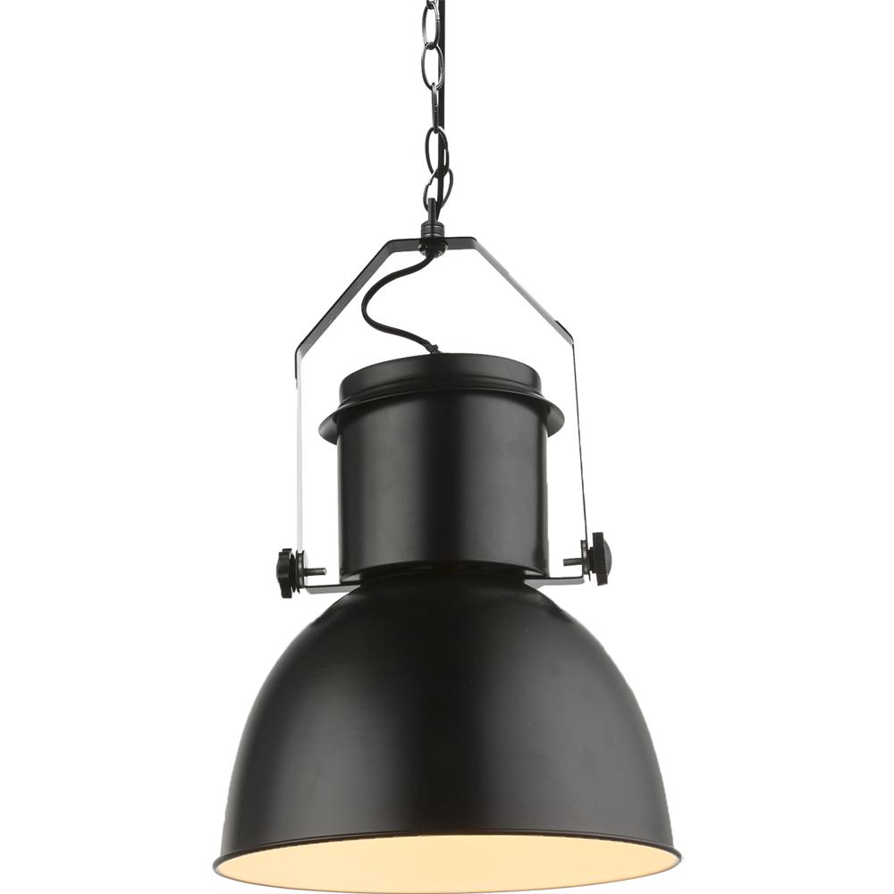 Moderne hanglamp zwart met wit E27 fitting - lampenkap