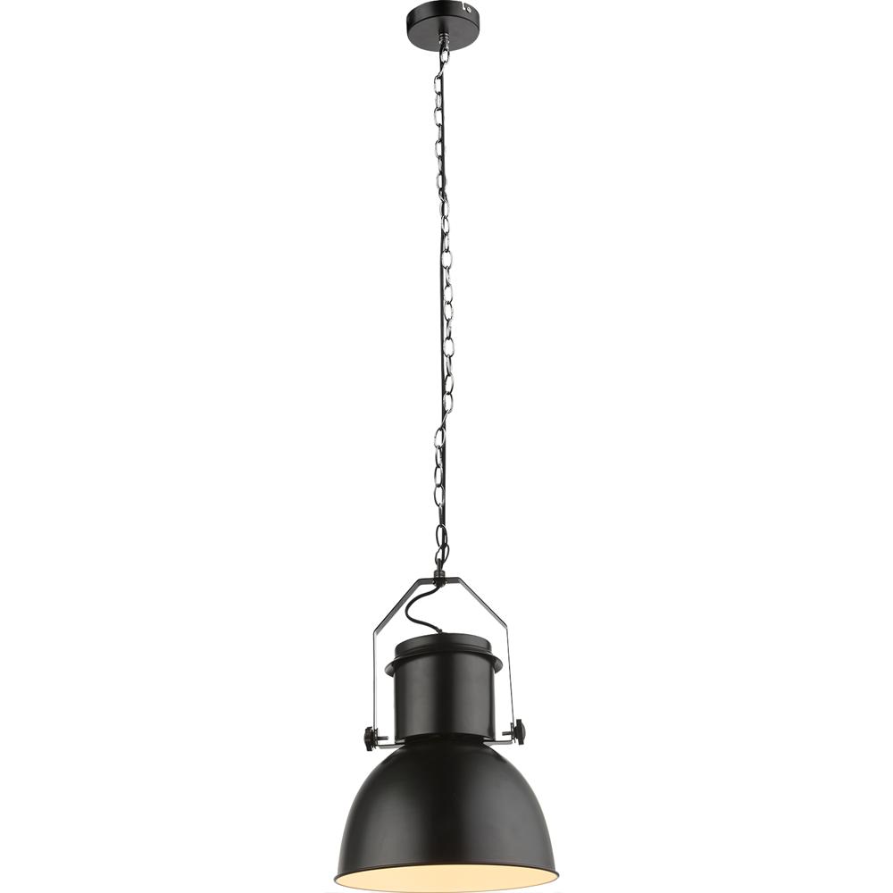 Moderne hanglamp zwart met wit E27 fitting - vooraanzicht lampenkap