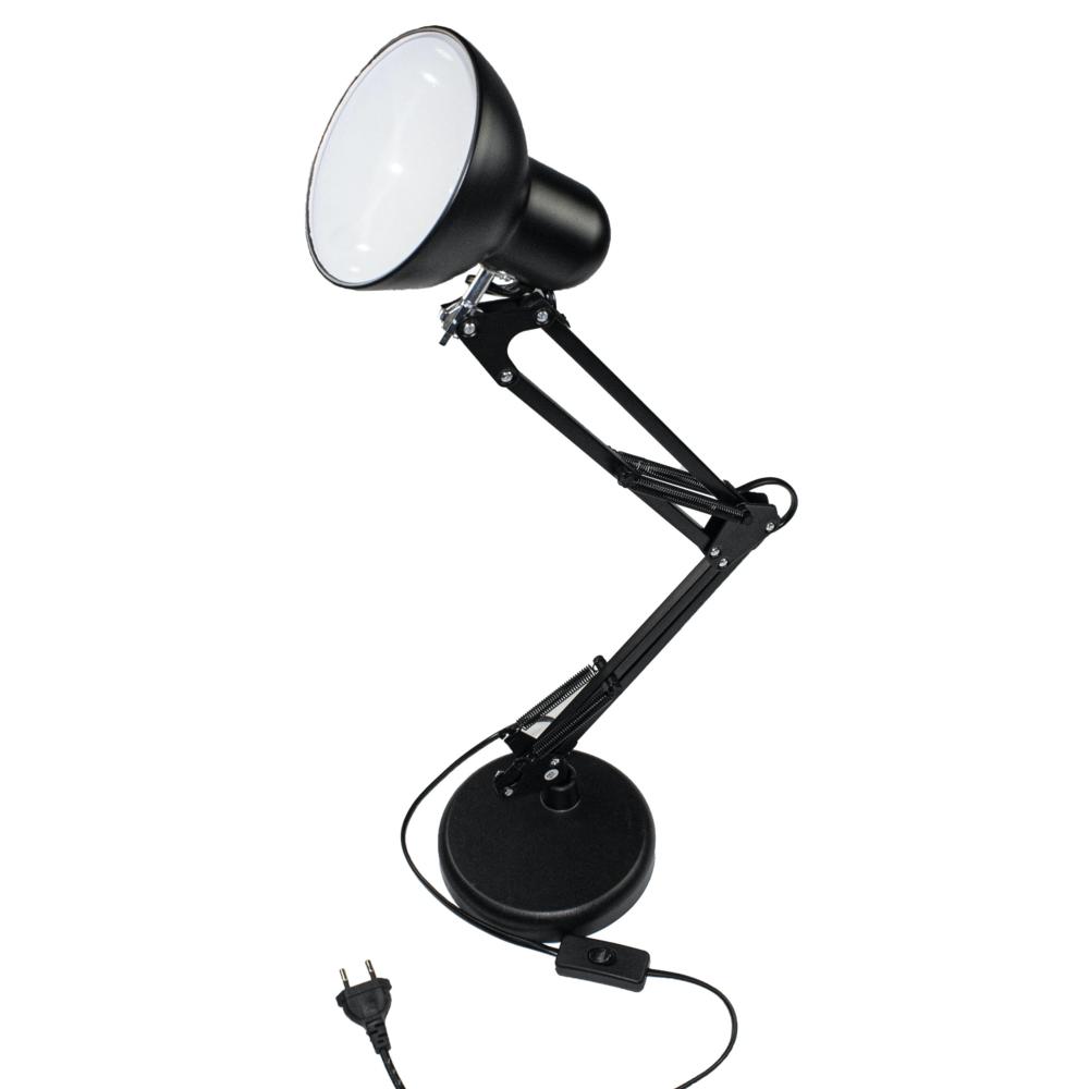 Industriële LED bureau lamp zwart - kantelbaar - E27 fitting - met voet en tafel klem