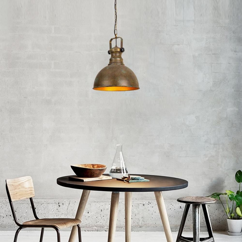 Industriële vintage hanglamp - koper met goud 40 cm - Montero - sfeerfoto